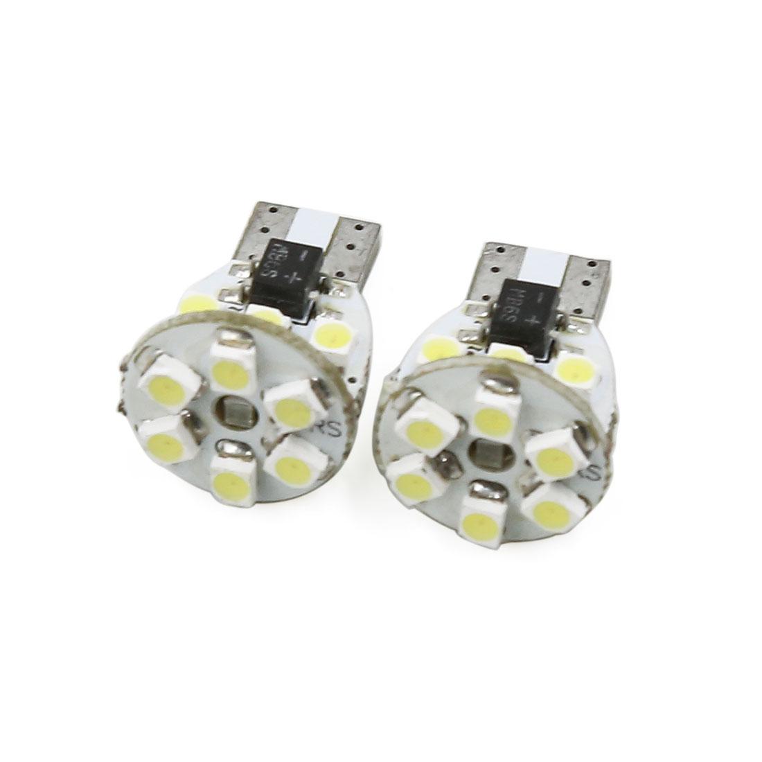 Auto Car T10 White 1210 SMD 12 LED Instrument Light Bulb Lamp 2 Pcs Interior