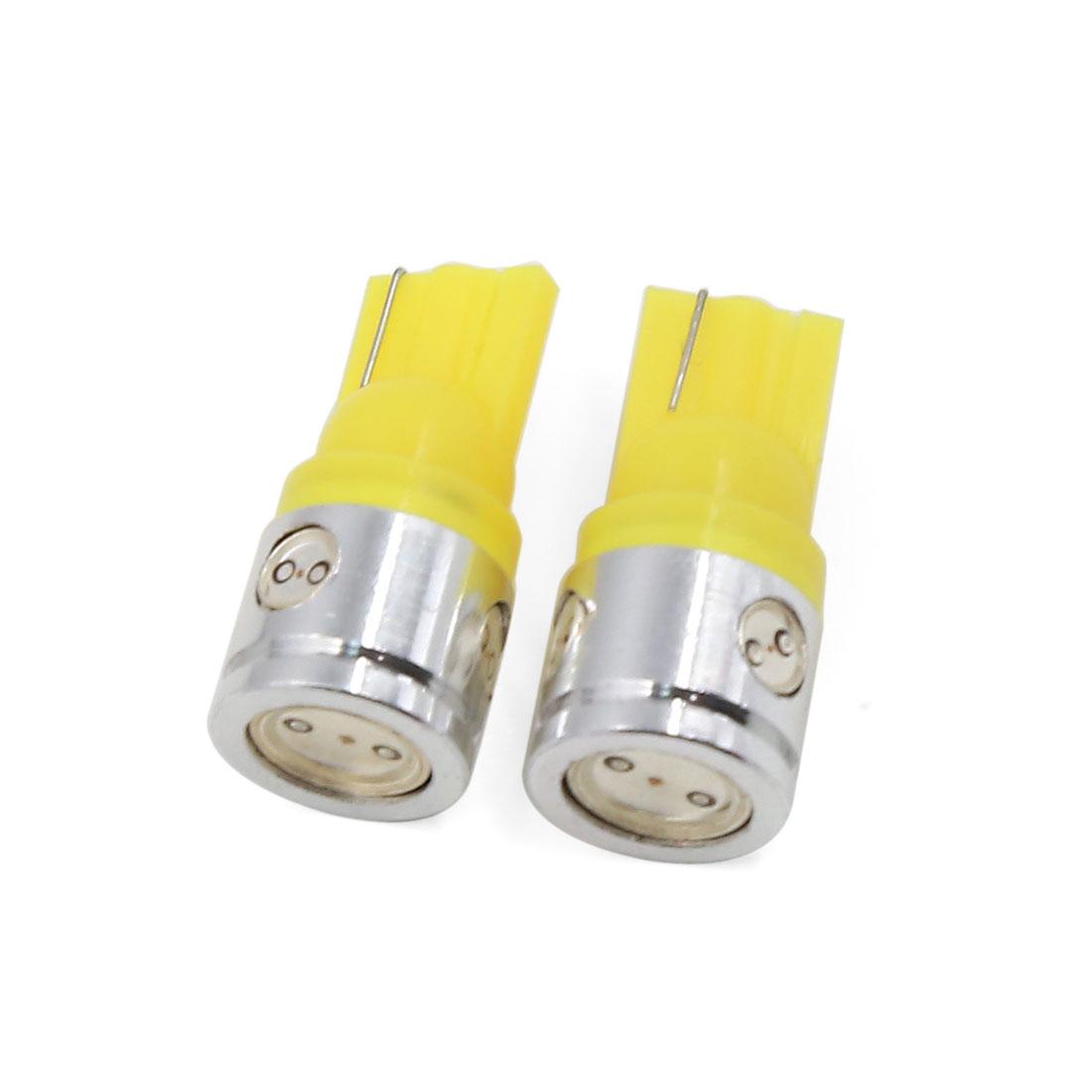 2 Pcs T10 2.5W Yellow 4-LED Bulbs Car Dashboard Light Lamp W5W 194 Interior