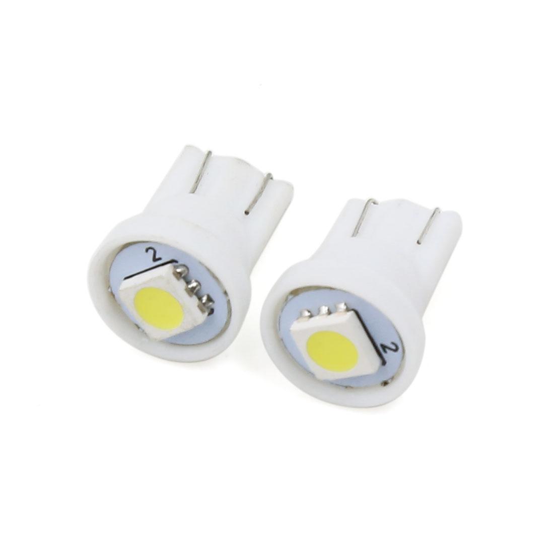 White T10 1-LED 5050 SMD Auto Corner Signal Light Lamp Bulbs 2 Pcs Interior
