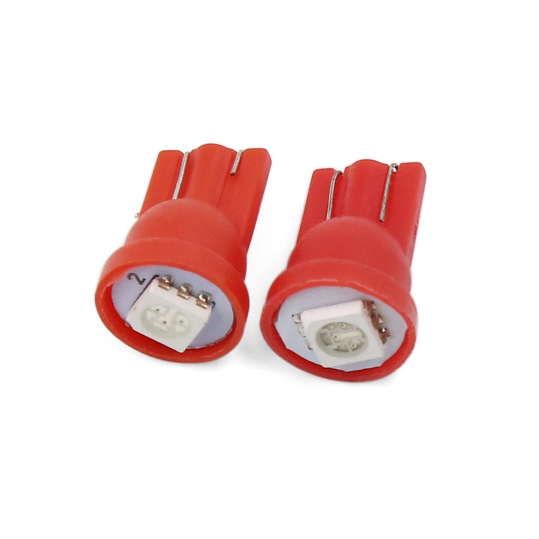 2 Pcs T10 W5W 5050 SMD 1-LED Bulbs Car Backup Reverse Light Lamp Red Interior