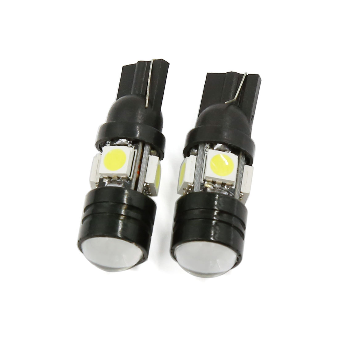 Car T10 W5W Projector Lens Bulb White 4 SMD 1 COB LED Wedge Lamp 2pcs Interior