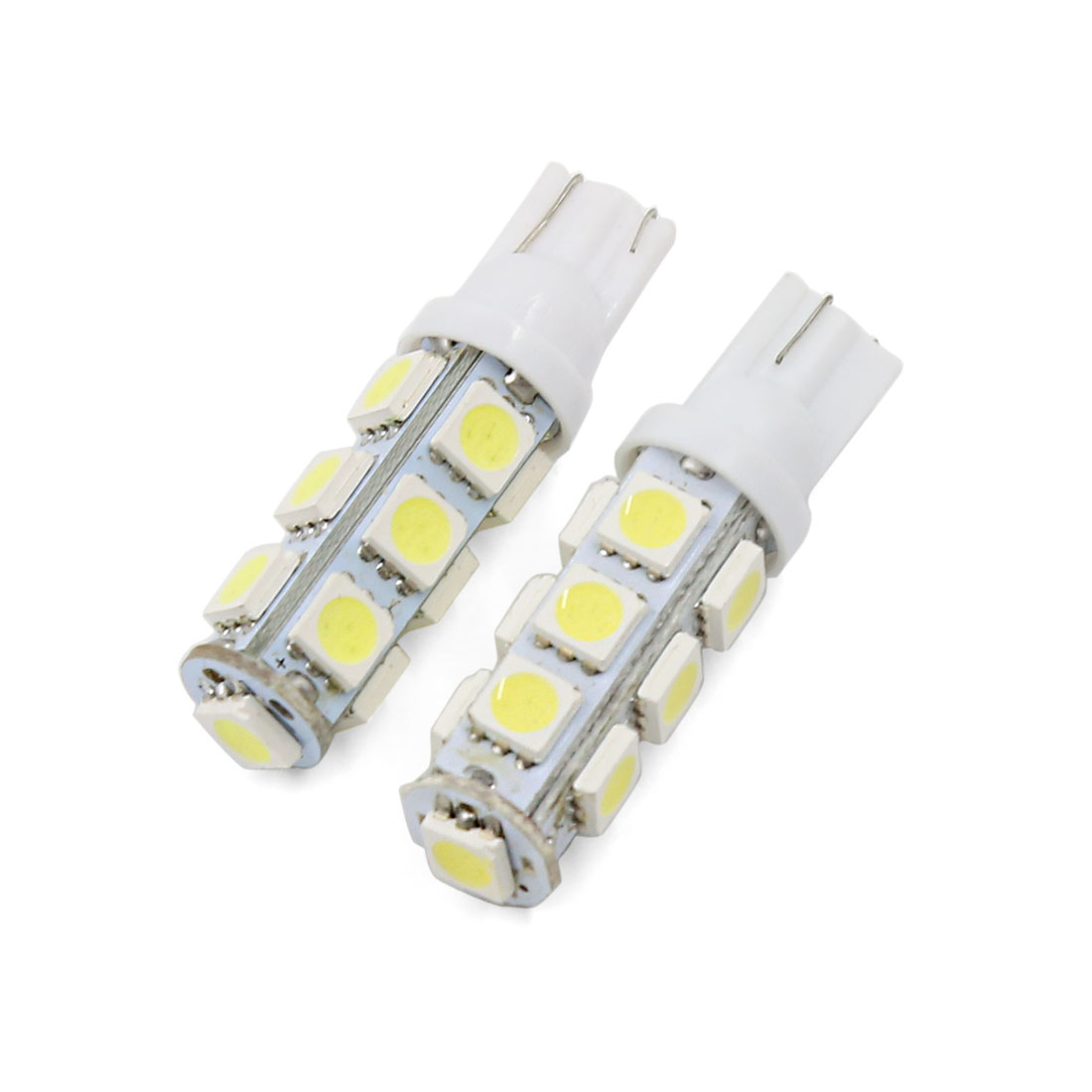 2 Pcs T10 W5W Car Bulbs 13-LED 5050 SMD White Lamp Parking Light Interior