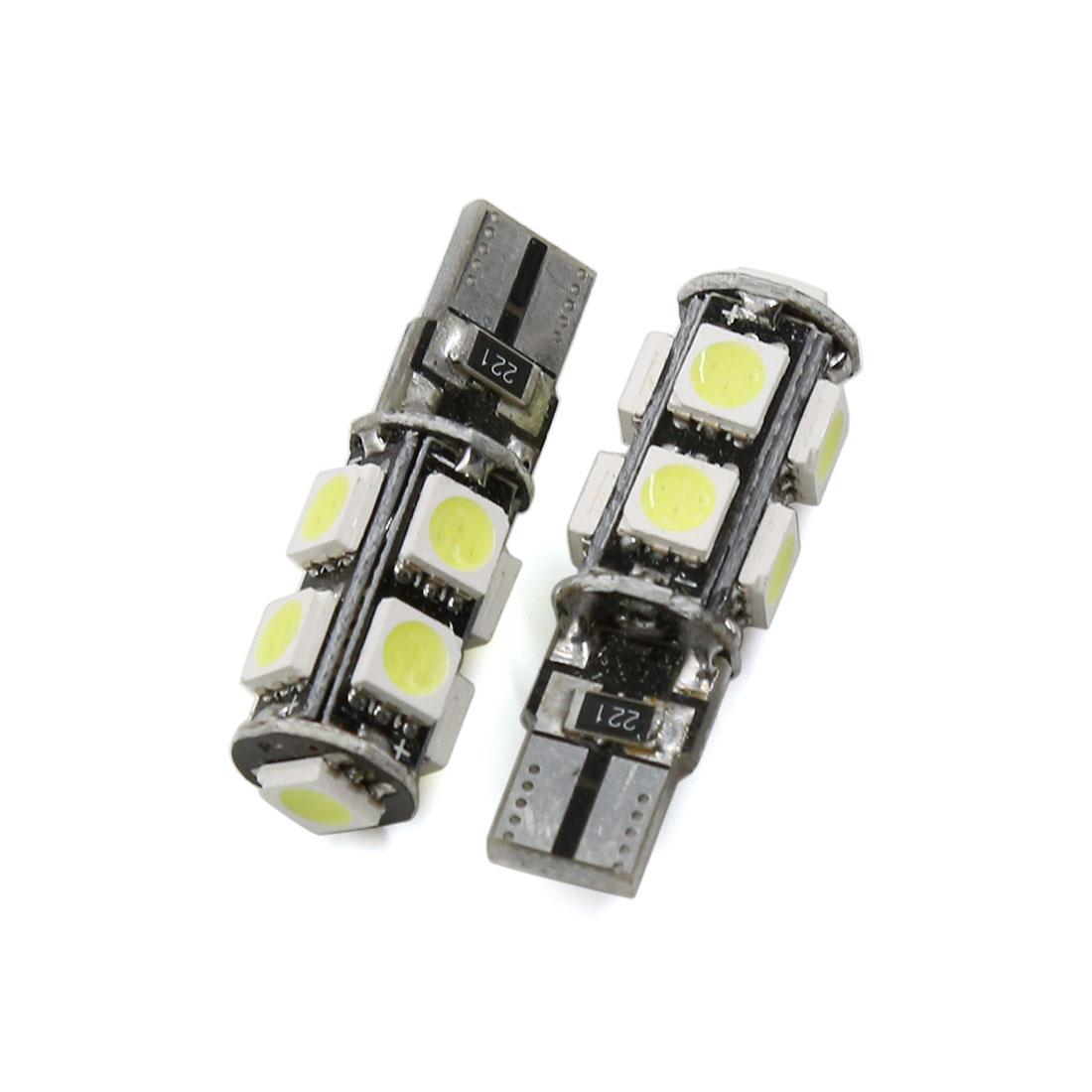2 Pcs No Free T10 9 LED 5050 SMD White Car Side Wedge Light Bulb DC 12V Interior