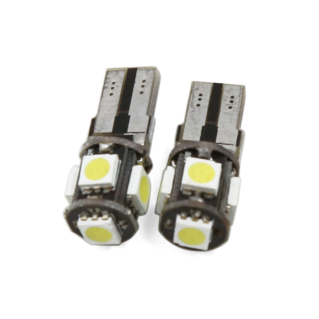 2 Pcs T10 White 5 SMD 5050 LED Canbus Error Free Car Side Wedge Light Interior