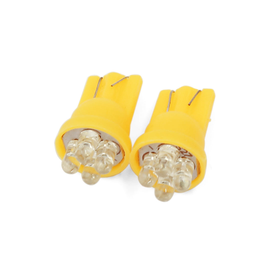 2 Pcs Yellow T10 Wedge 4-LEDs Dashboard Light Bulbs W5W 194 192 1252 Interior