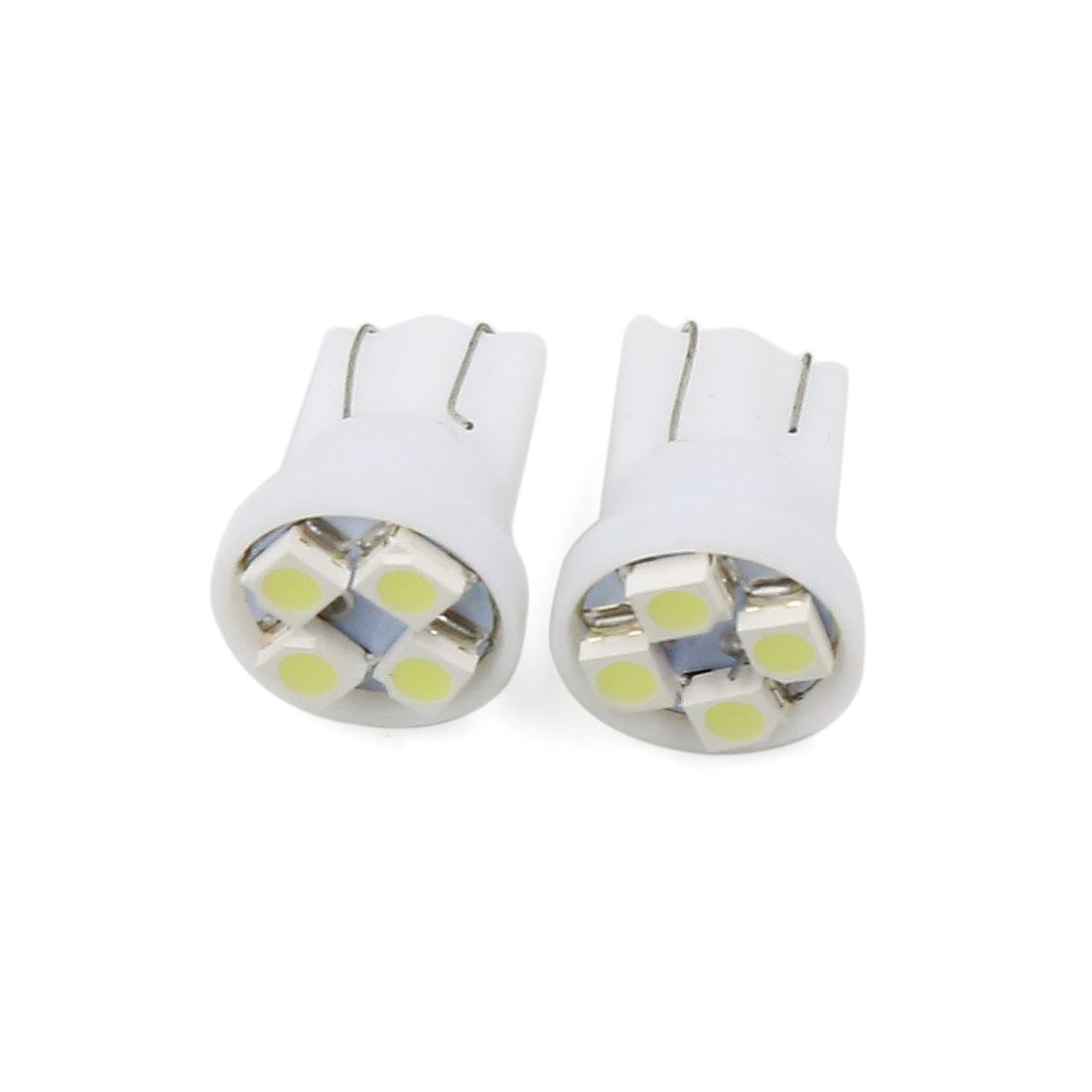 Pair T10 Socket 1210 SMD 4 LED Bulbs Side Marker Wedge Light White Interior