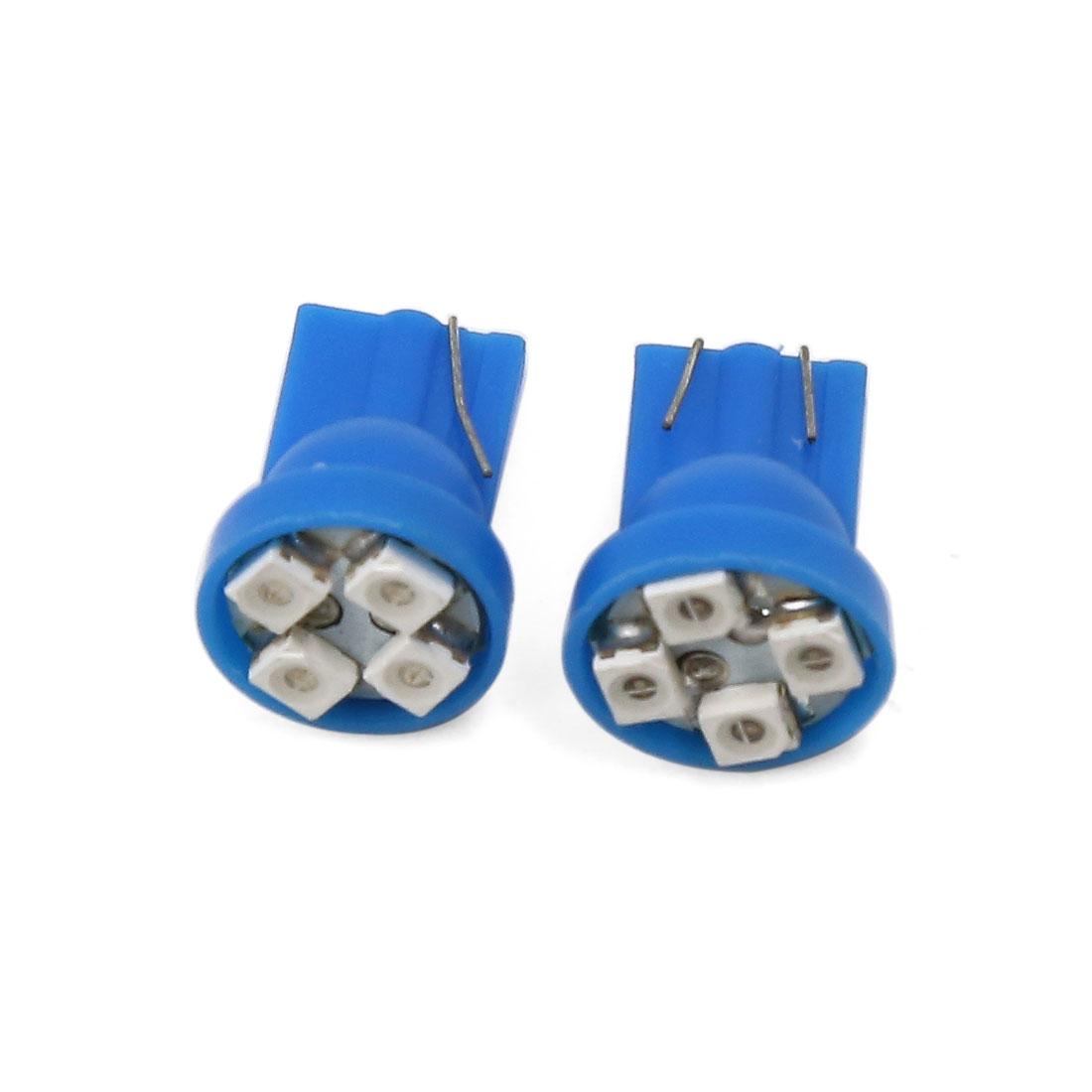 2 Pcs Blue T10 4 LED 1210 SMD Car Wedge Dash Light Bulbs Lamp DC 12V Interior