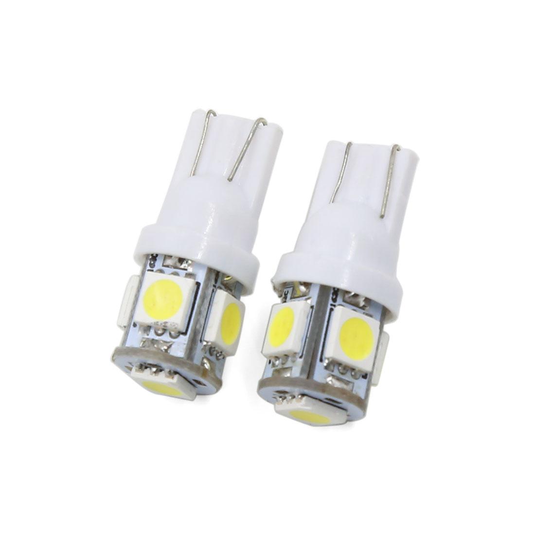 T10 5050 SMD 5 LED Side Wedge Light White Turn Signal Lamp Bulb 2 Pcs Interior