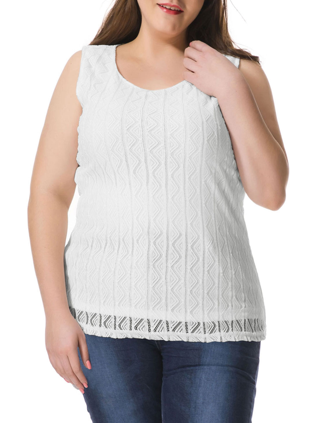 Women Plus Size Hollow Triangle Sleeveless Top White 2X