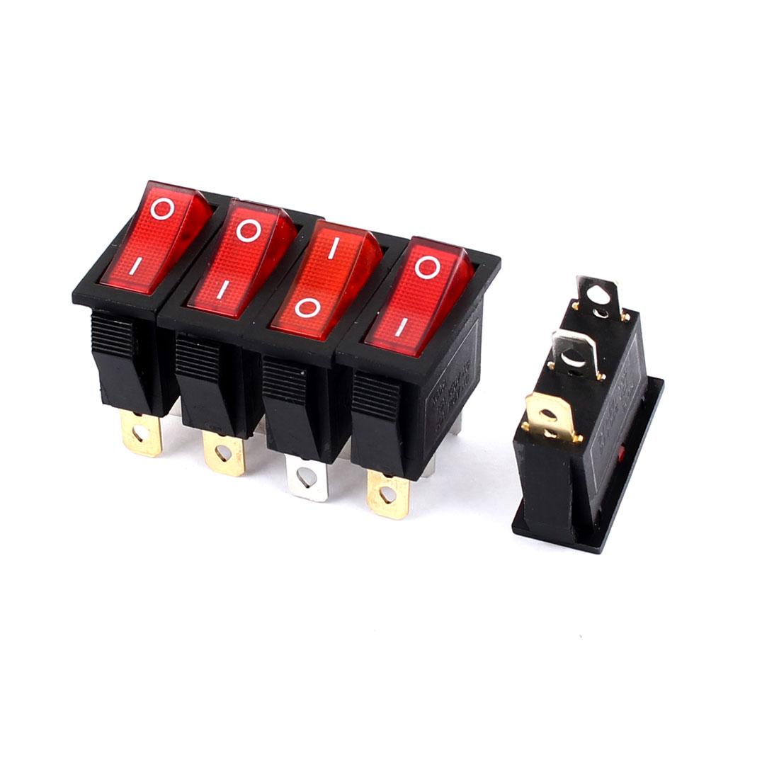 5Pcs AC 250V/125V 15A/30A O/I Snap-In SPST Red Light Rocker Switch