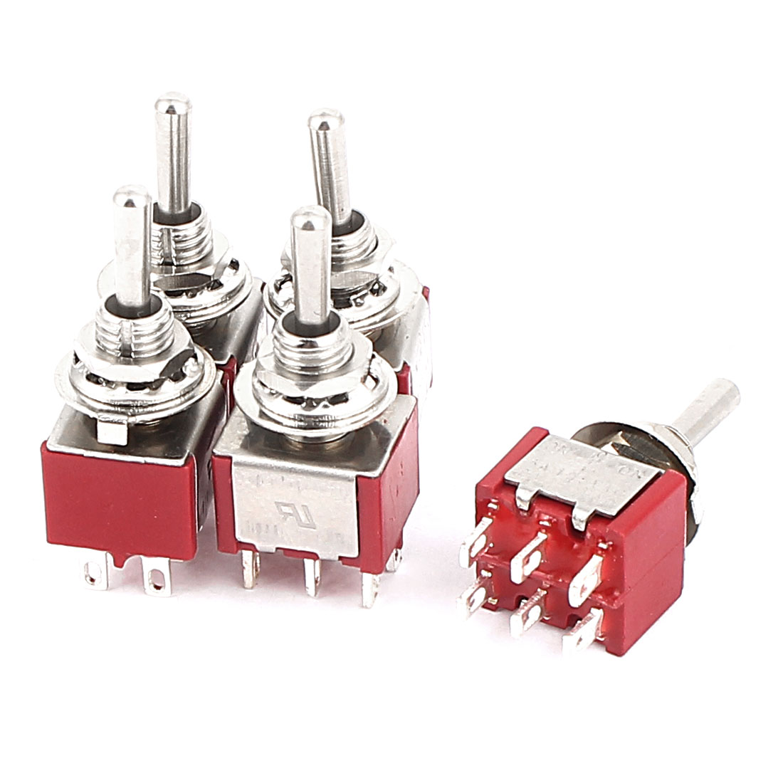 AC 250V/125 2A/5A DPDT ON-ON 3 Positions 6Pin Momentary Toggle Switch 5 Pcs