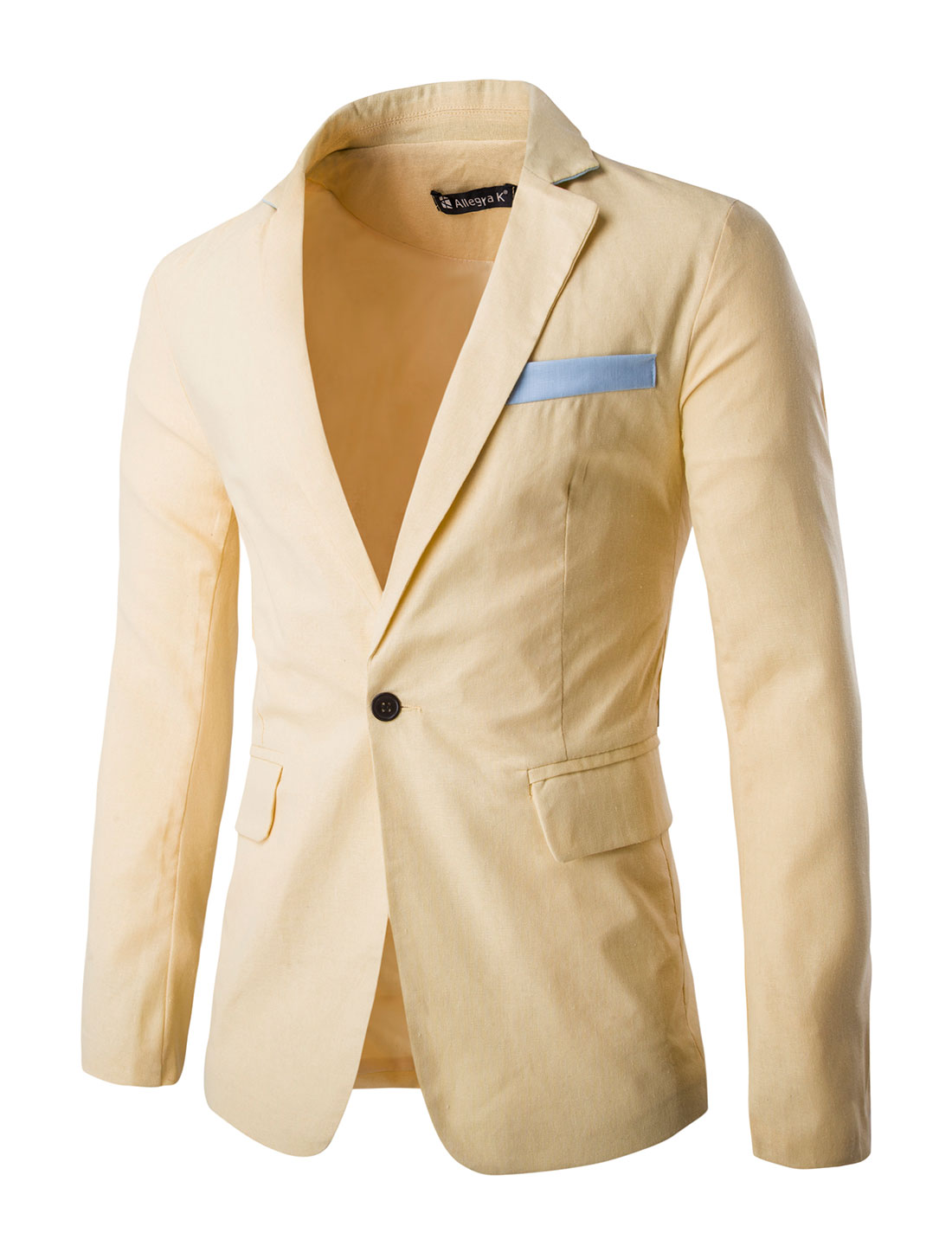 Men Notched Lapel Flap Pockets One-Button Blazer Bright Yellow L