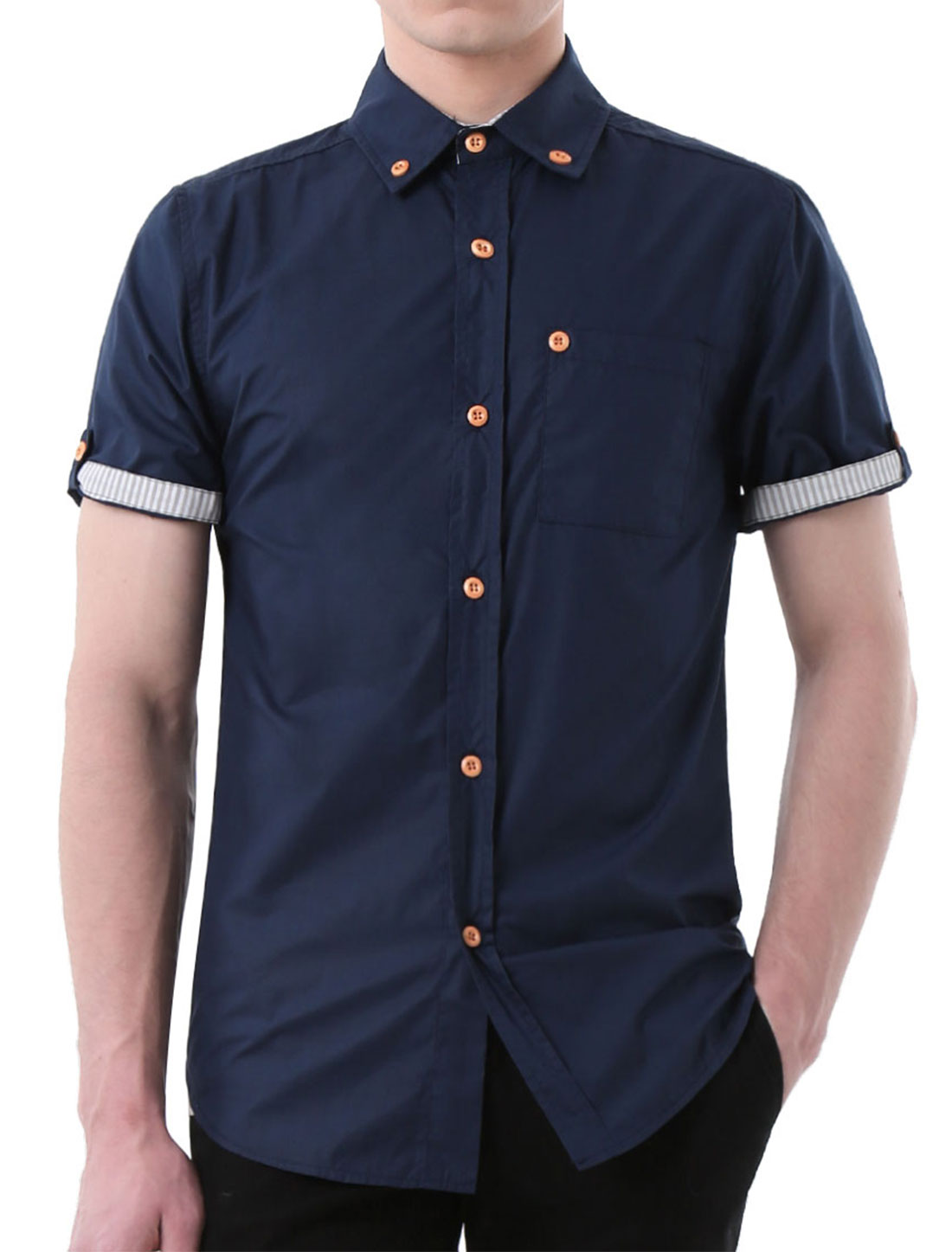 Men Short Sleeves Slim Fit Button Down Shirt w Pocket Navy Blue L