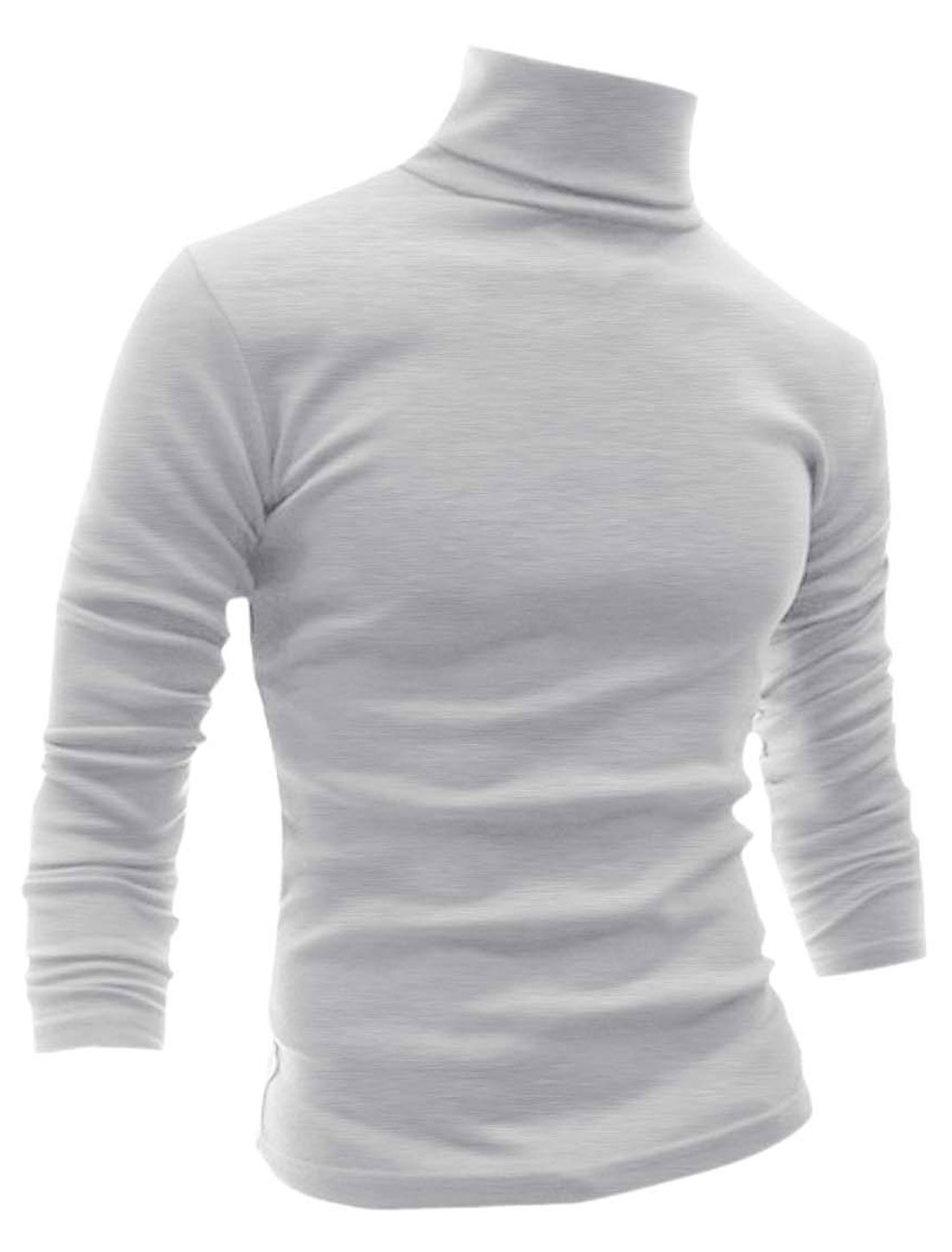 Men Long Sleeves Turtle Neck Slim Fit Tee Light Gray L