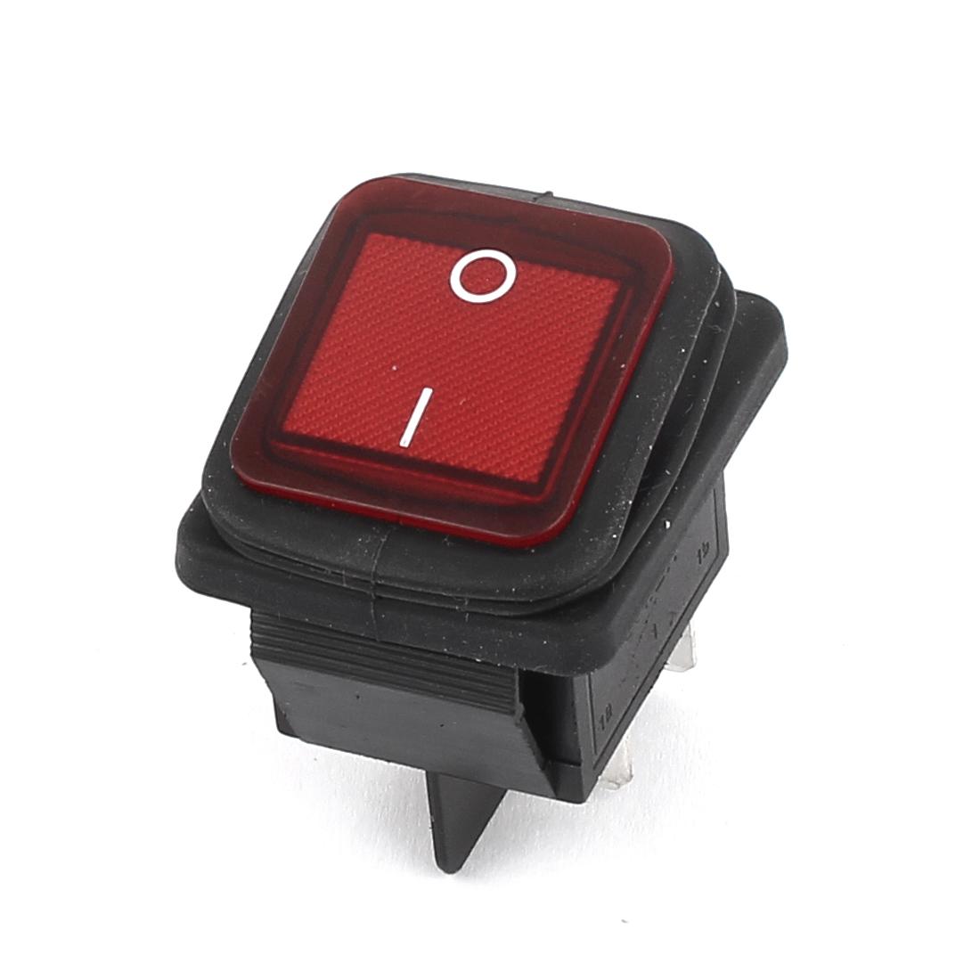 AC 250V/125V 16A/20A DPST O/I 4Pin Red Light Waterproof Rocker Boat Switch