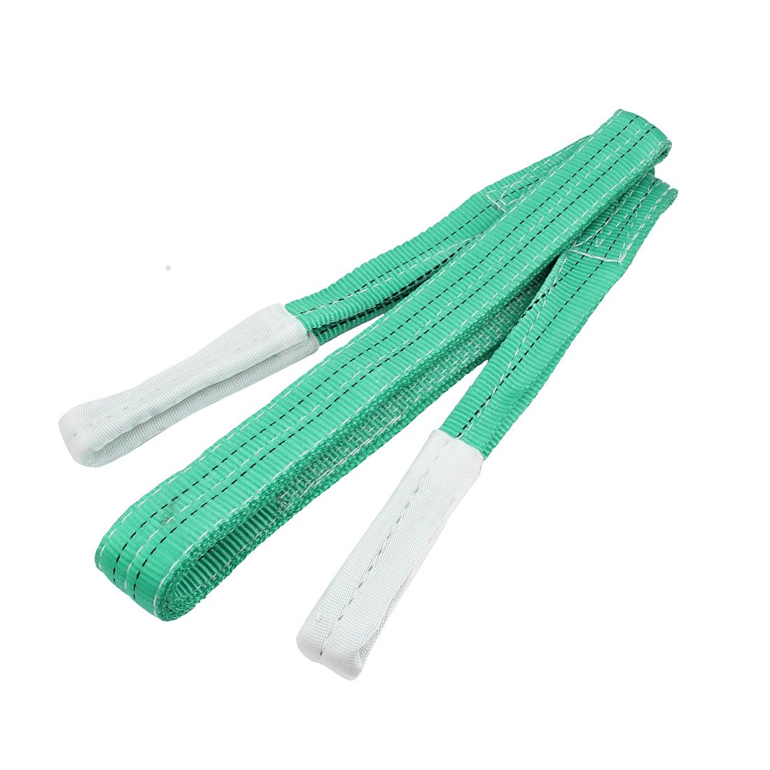 3 Meter 50mm Width Eye to Eye Nylon Web Lifting Tow Strap Green