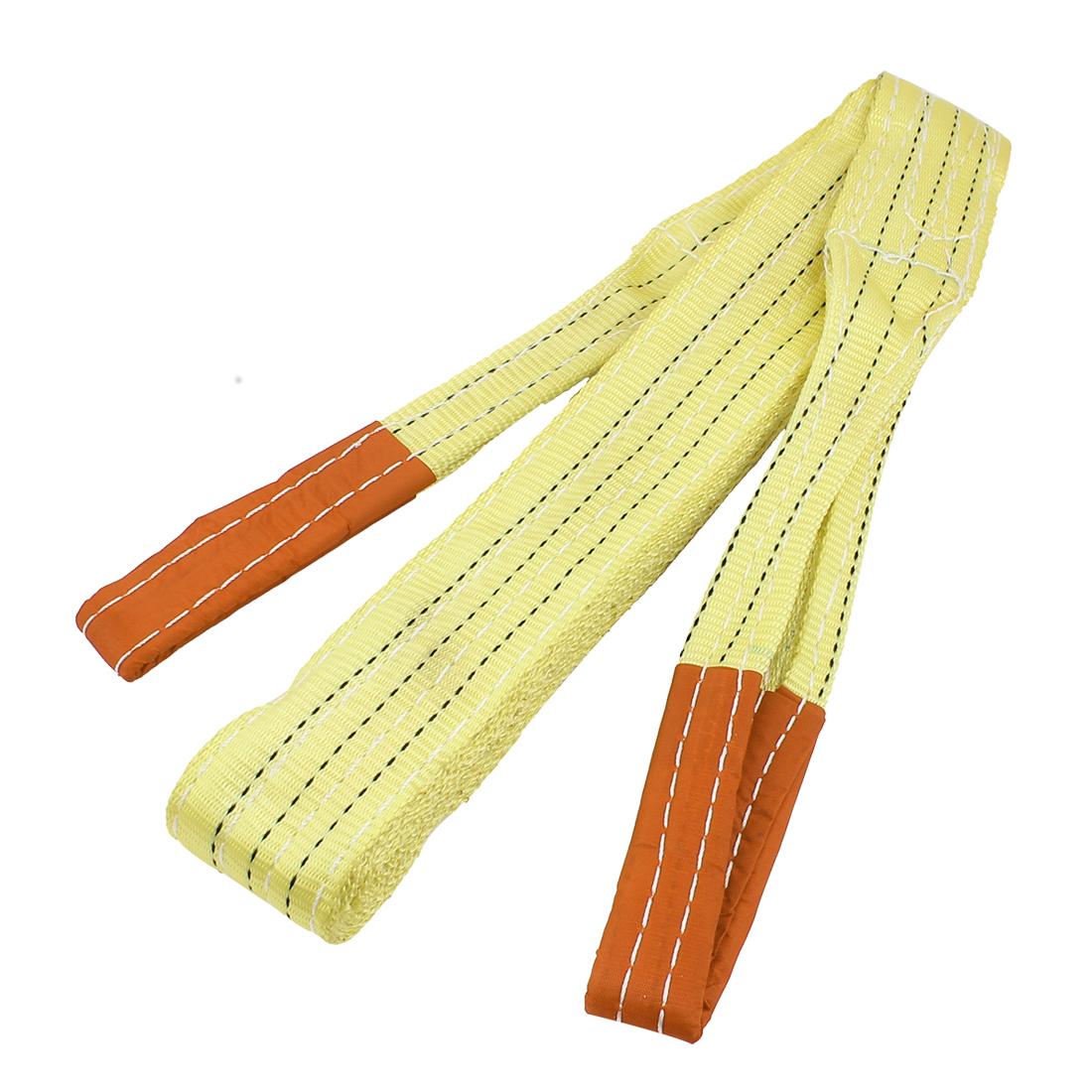 3 Meter 75mm Width Eye to Eye Nylon Web Lifting Tow Strap Yellow