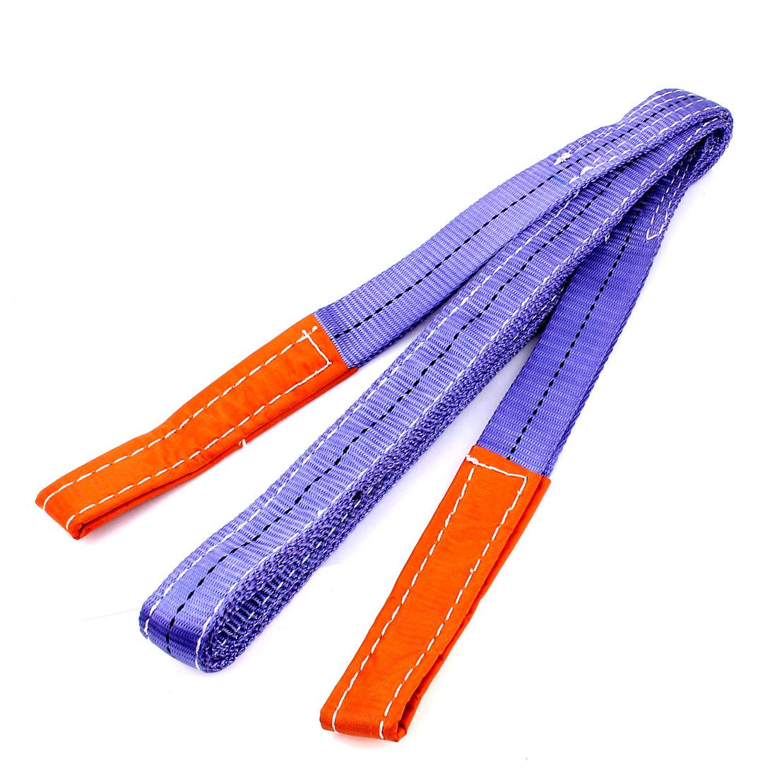 3 Meter 35mm Width Eye to Eye Nylon Web Lifting Tow Strap Purple
