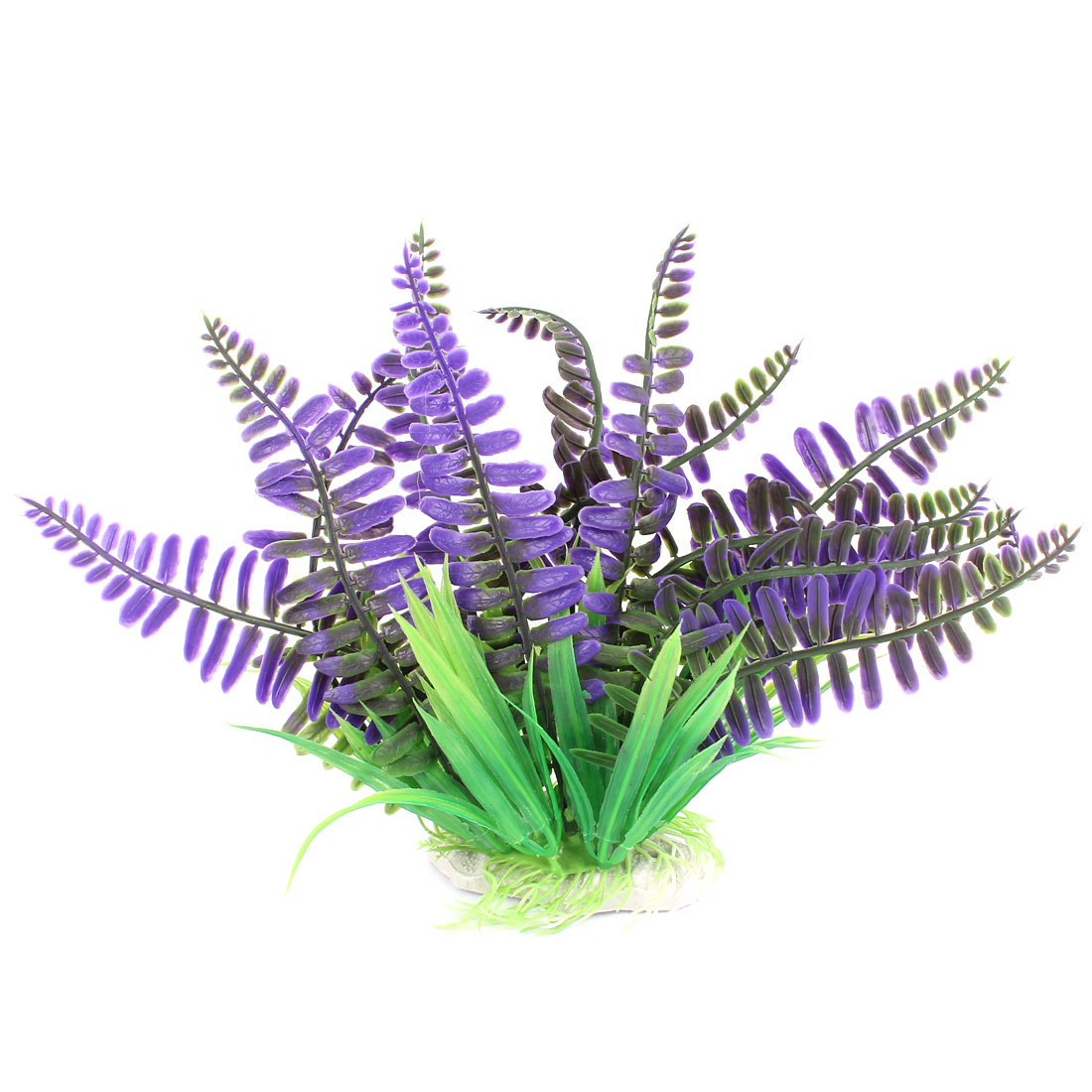 "Fish Tank Aquarium Plastic Ornament Manmade Underwater Plant Grass 8"" Height Purple"