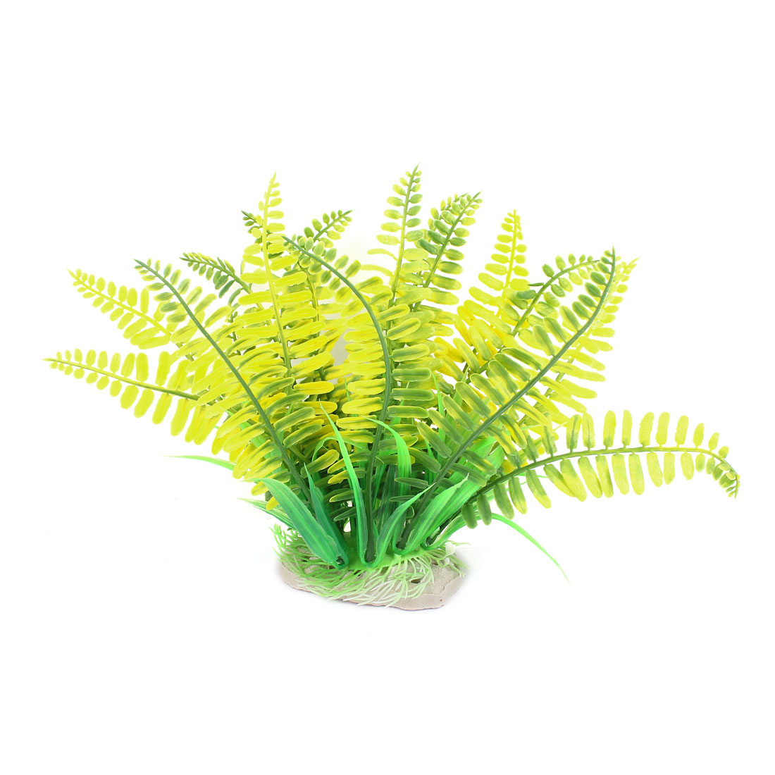 Aquarium Fish Tank Ceramic Base Artificial Plant Grass Decor 19cm Height Yellow