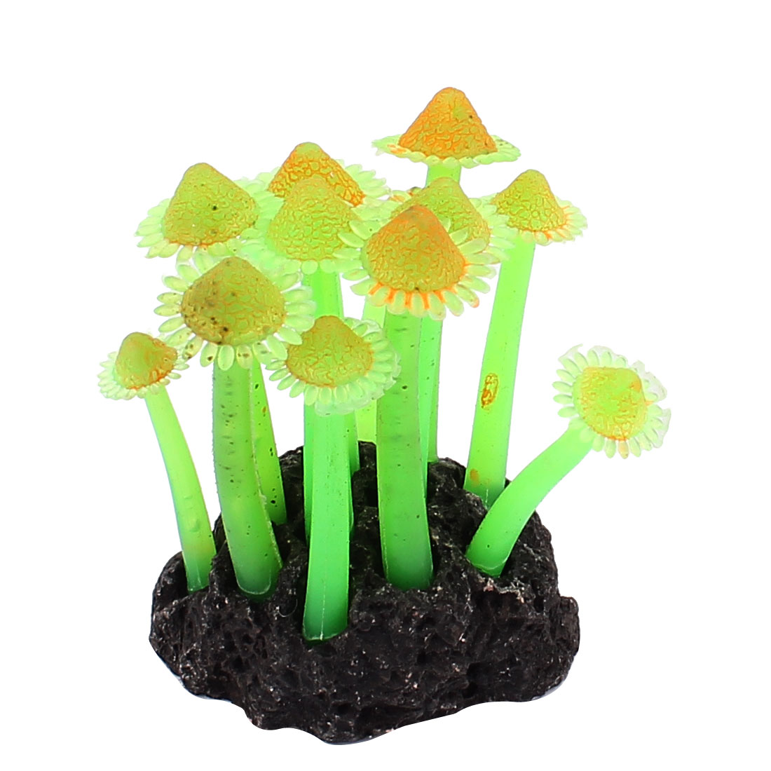 Aquarium Fish Tank Plastic Ornament Man-made Coral Emulation Plant 3 Inch Height Green