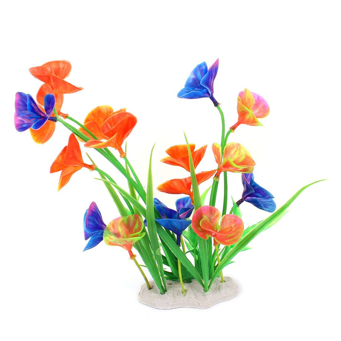 Aquarium Fish Tank Plastic Decor Emulation Water Plant Grass Flower 19cm Height Multicolor