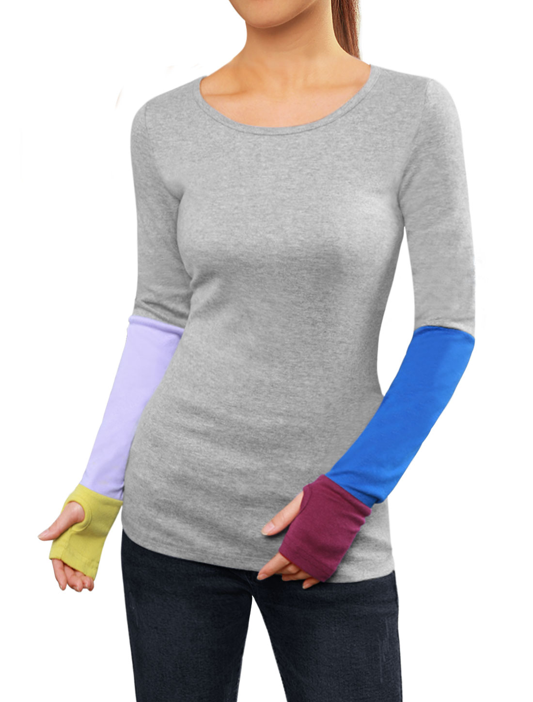 Woman Color Block Long Sleeves T-Shirt w Thumb Hole Gray M
