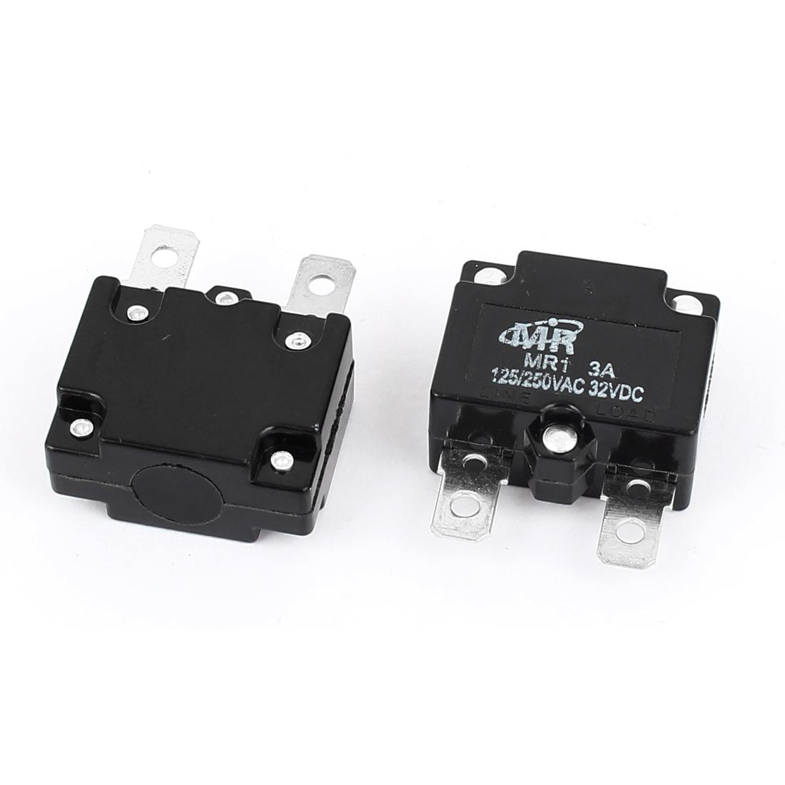 AC 125V/250V 3A NC Automatic Reset Overload Protector Circuit Breaker 2Pcs