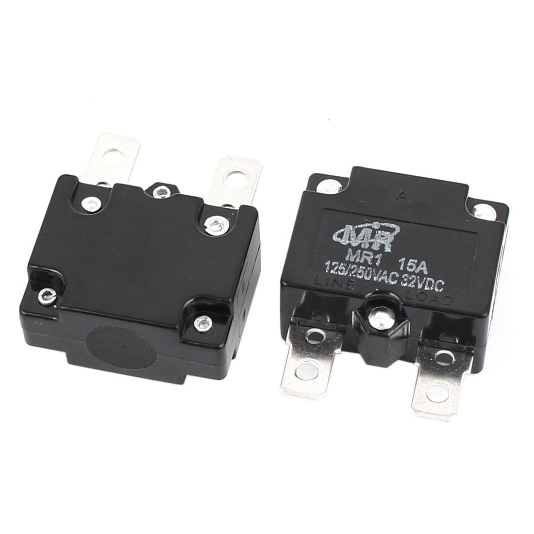 AC 125V/250V 15A NC Automatic Reset Overload Protector Circuit Breaker 2Pcs