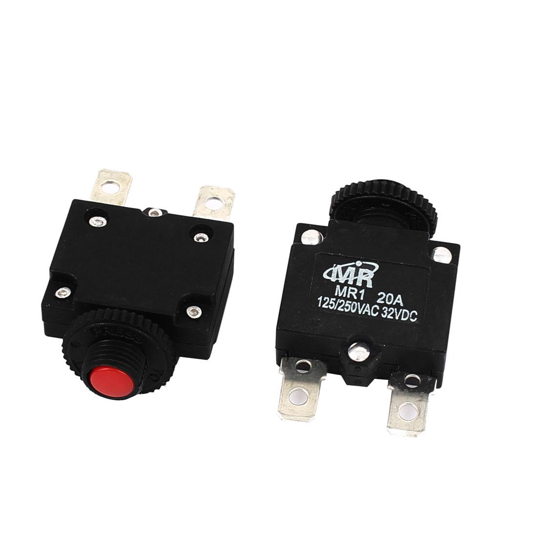 AC 125V/250V 20A NC Hand Reset Button Overload Protector Circuit Breaker 2Pcs