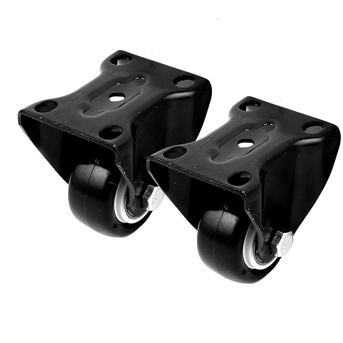 "Trolley 1.5"" Single Roller Top Plate Swivel Caster Polyurethane Wheel Black 2pcs"