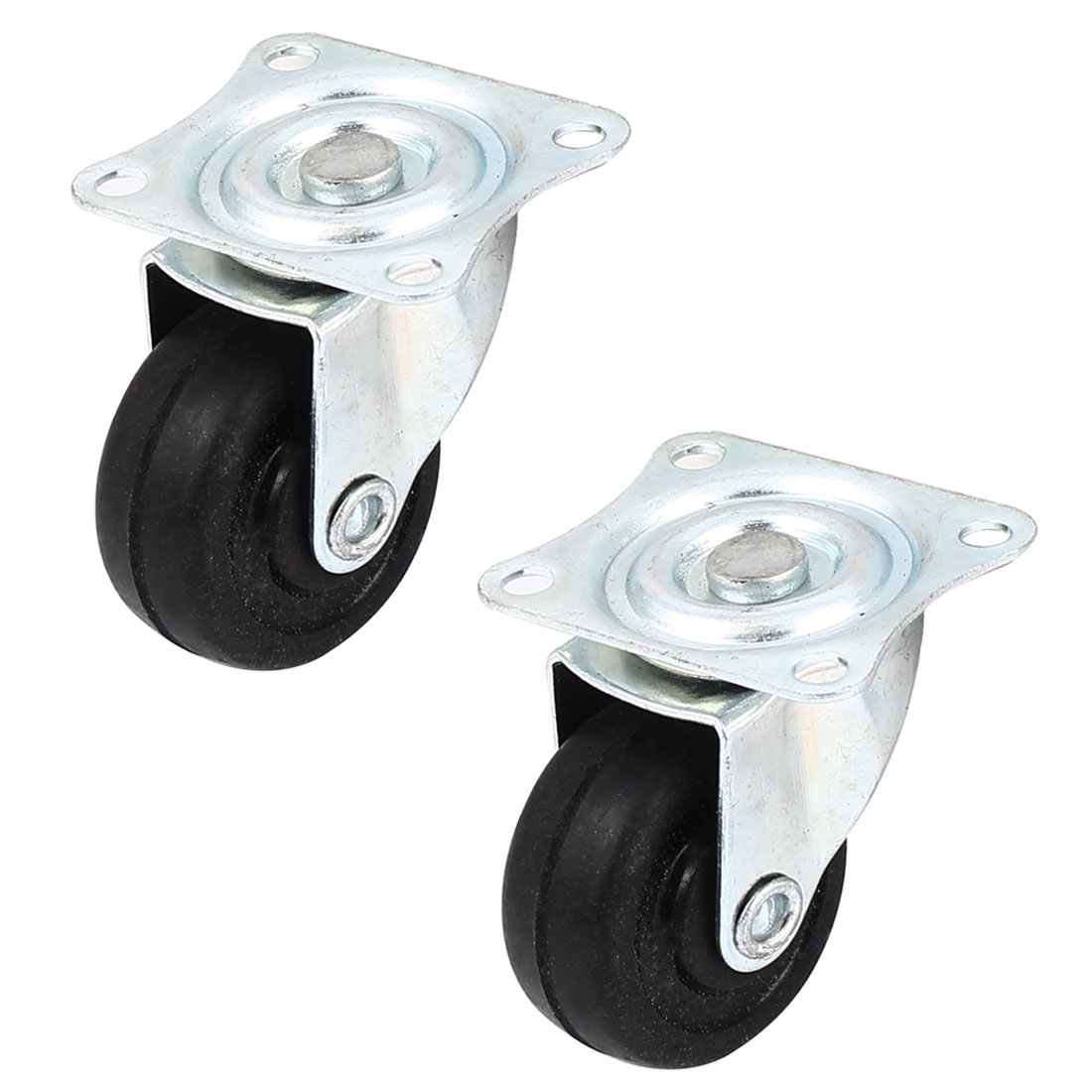 "Furniture Trolley 1.5"" Round Single Wheel Rectangle Top Plate 360 Degree Caster 2 Pcs"