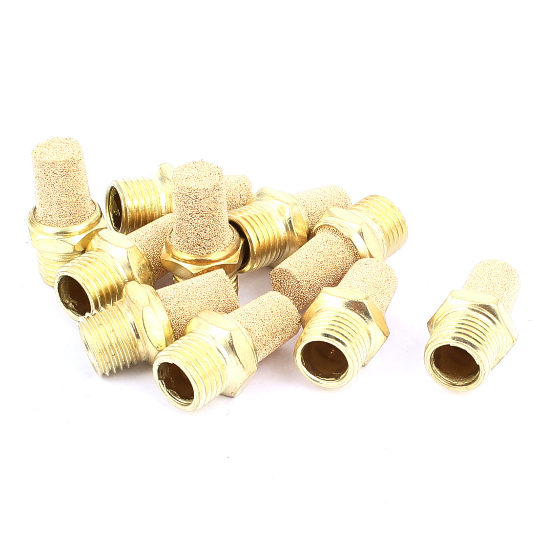 1/4PT Male Thread Noise Reducing Pneumatic Muffler Silencer Filter Exhaust Brass 10 Pcs