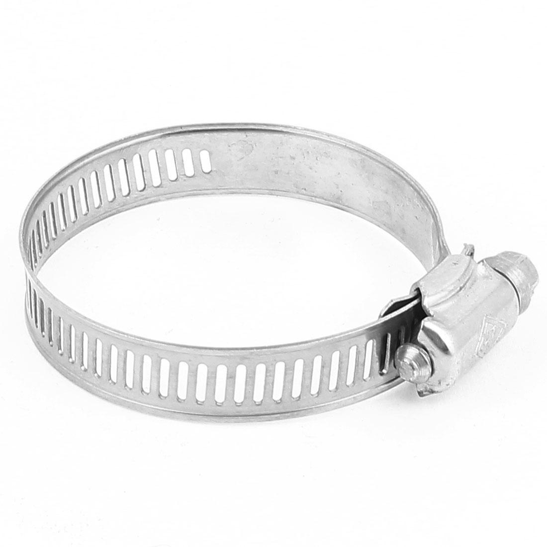 33-57mm/1.3-2.2in Adjustable Worm Gear Hose Clamp Hoop Silver Tone
