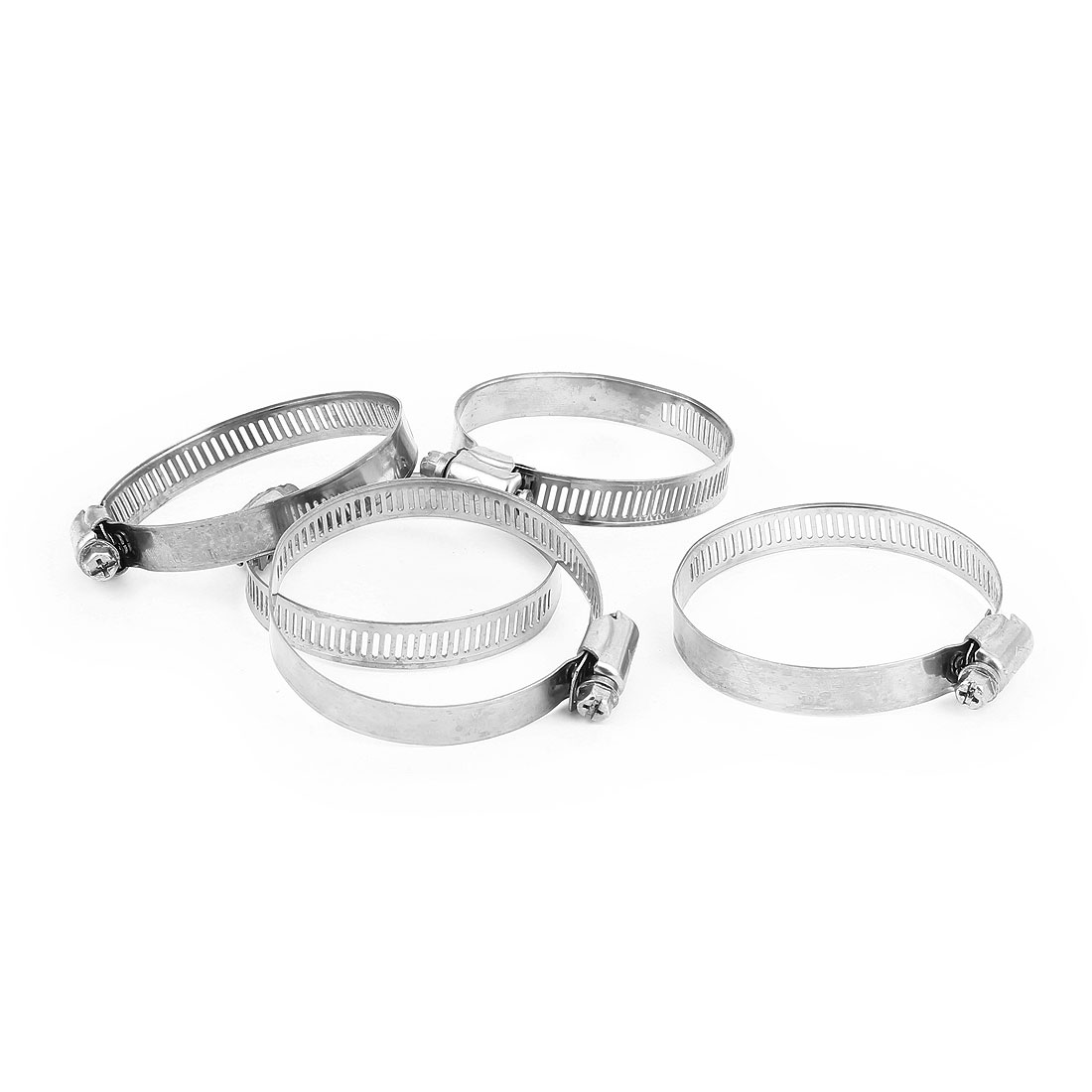 5 Pcs 46-70mm/1.8-2.8in Adjustable Worm Gear Hose Clamp Hoop Silver Tone