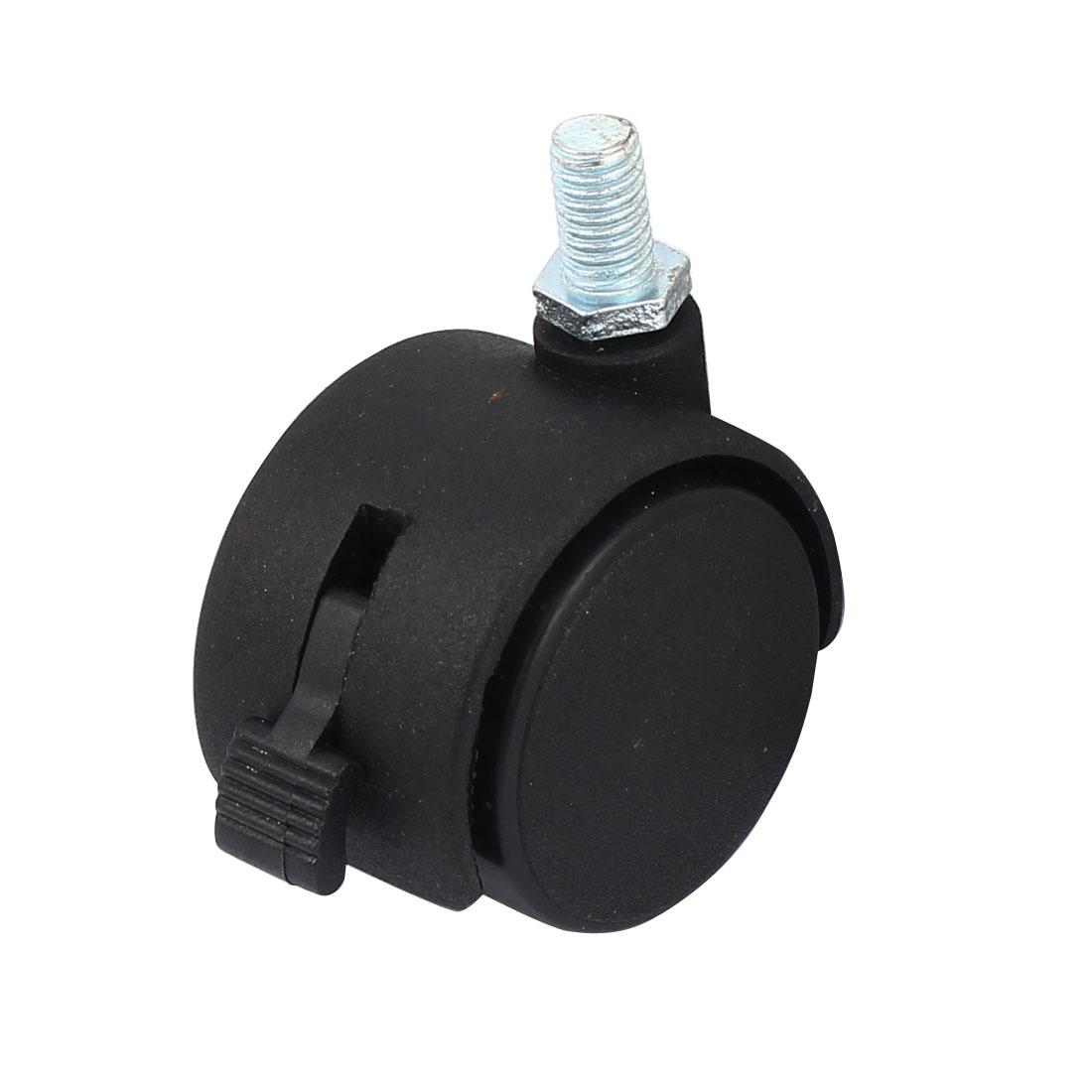 8mm Threaded Stem 1.5 Inch Dia Double Wheel Screw on Type Swivel Locking Brake Caster 4 Pcs