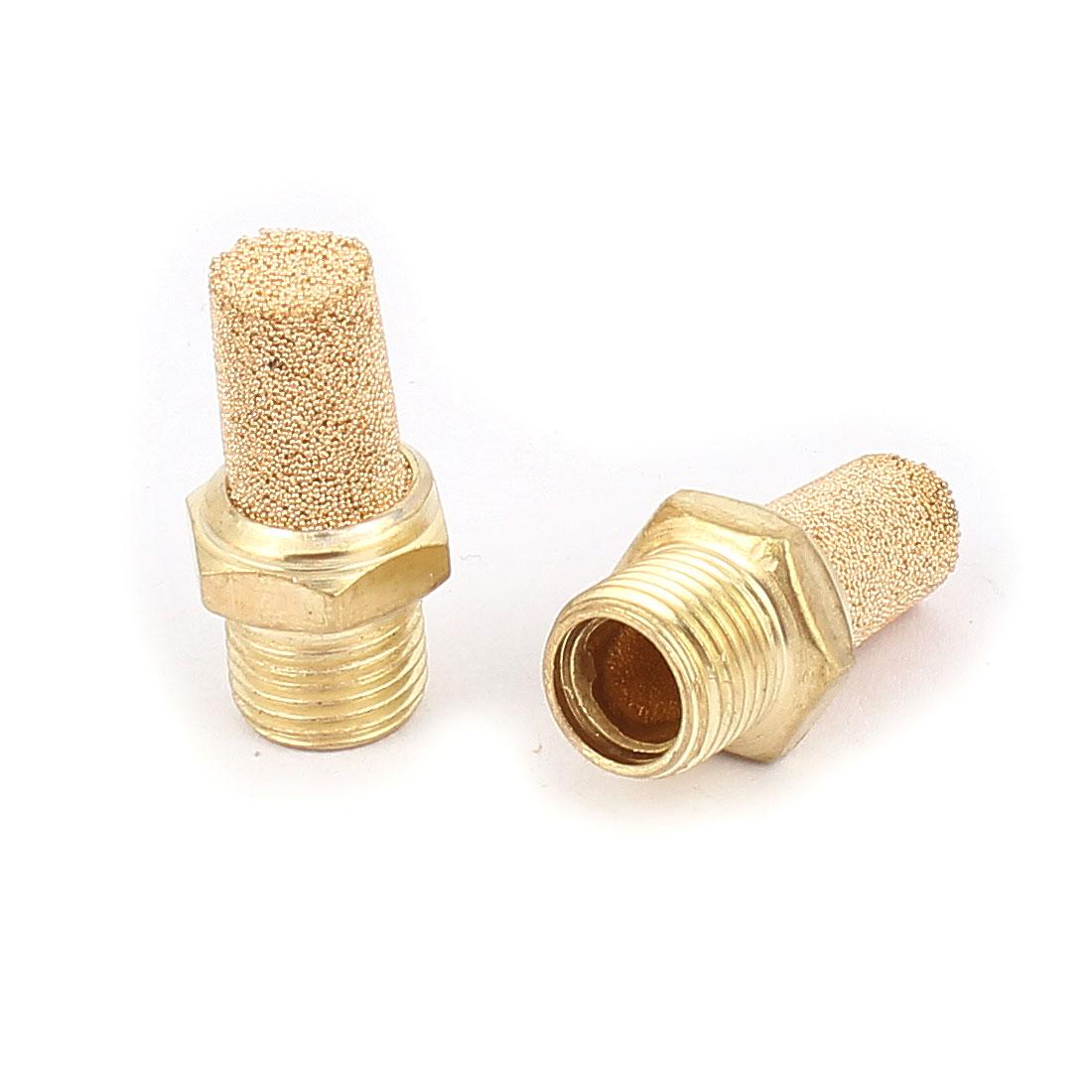 1/8PT Male Thread Noise Reducing Pneumatic Muffler Silencer Filter Exhaust Brass 2 Pcs