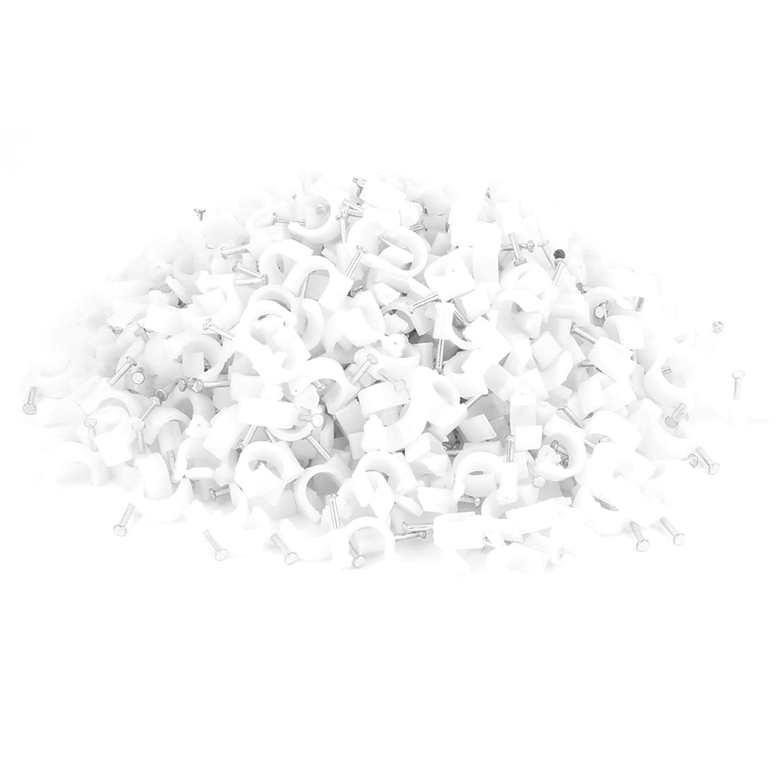 Wall Mount 10mm Dia Electric Cable Circle Nail Clips Fastener 650 Pcs