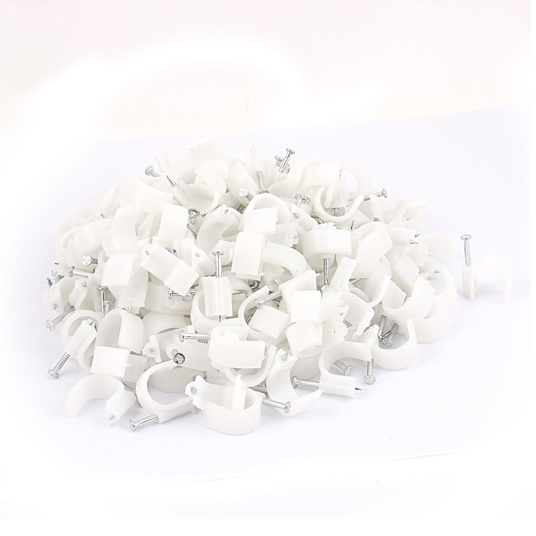 Wall Mount 16mm Dia Electric Cable Circle Nail Clips Fastener 200 Pcs
