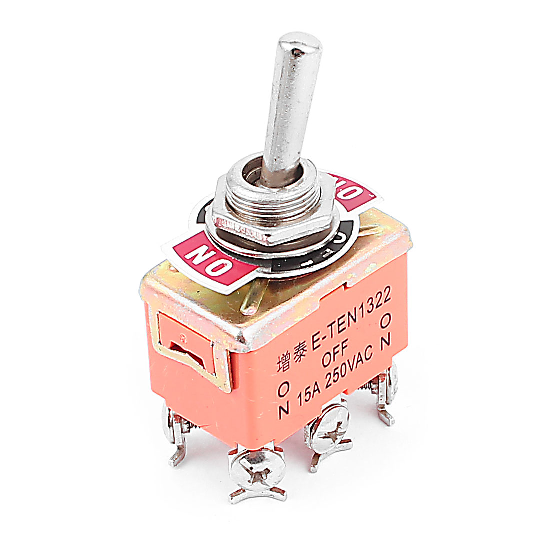 AC 250V 15A 6 Screw Terminals ON-OFF-ON 3 Position Latching Toggle Switch