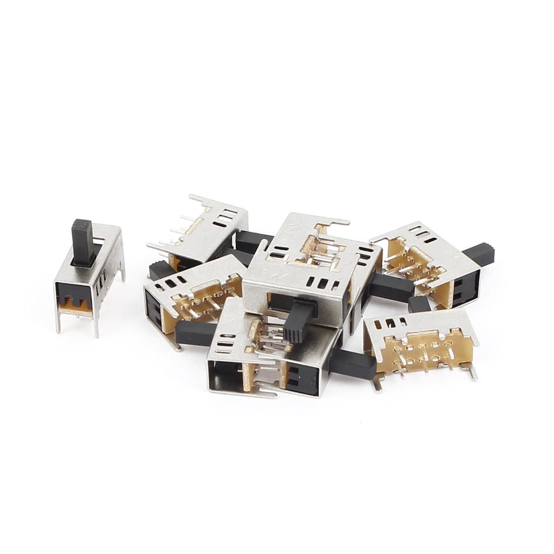 10 Pcs AC 50V 0.5A High Side Knob 3 Position DPDT Slide Switch SK22H02