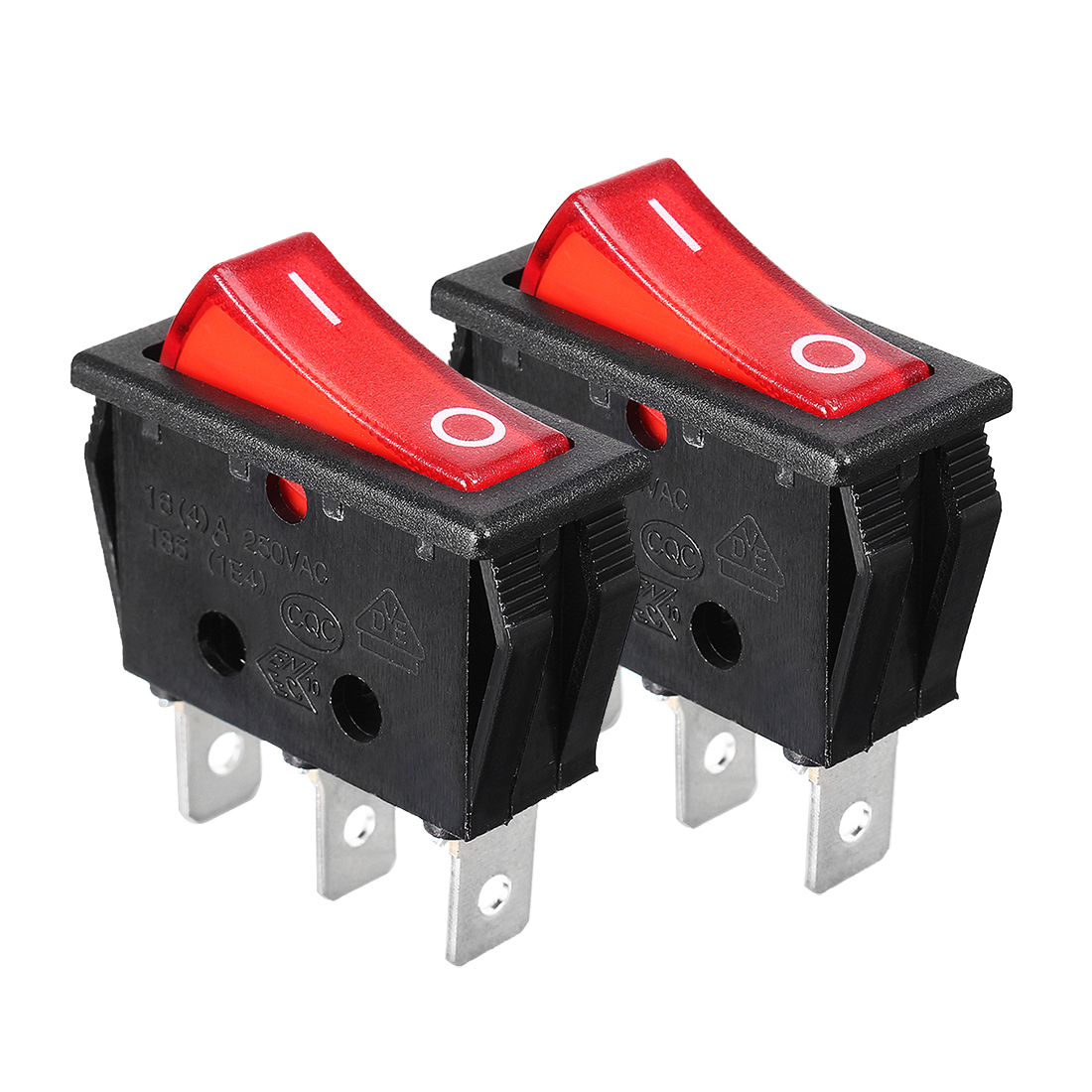 16(4)A/250VAC 3 Terminal Red Light ON-OFF I/O SPST Rocker Switch 2Pcs