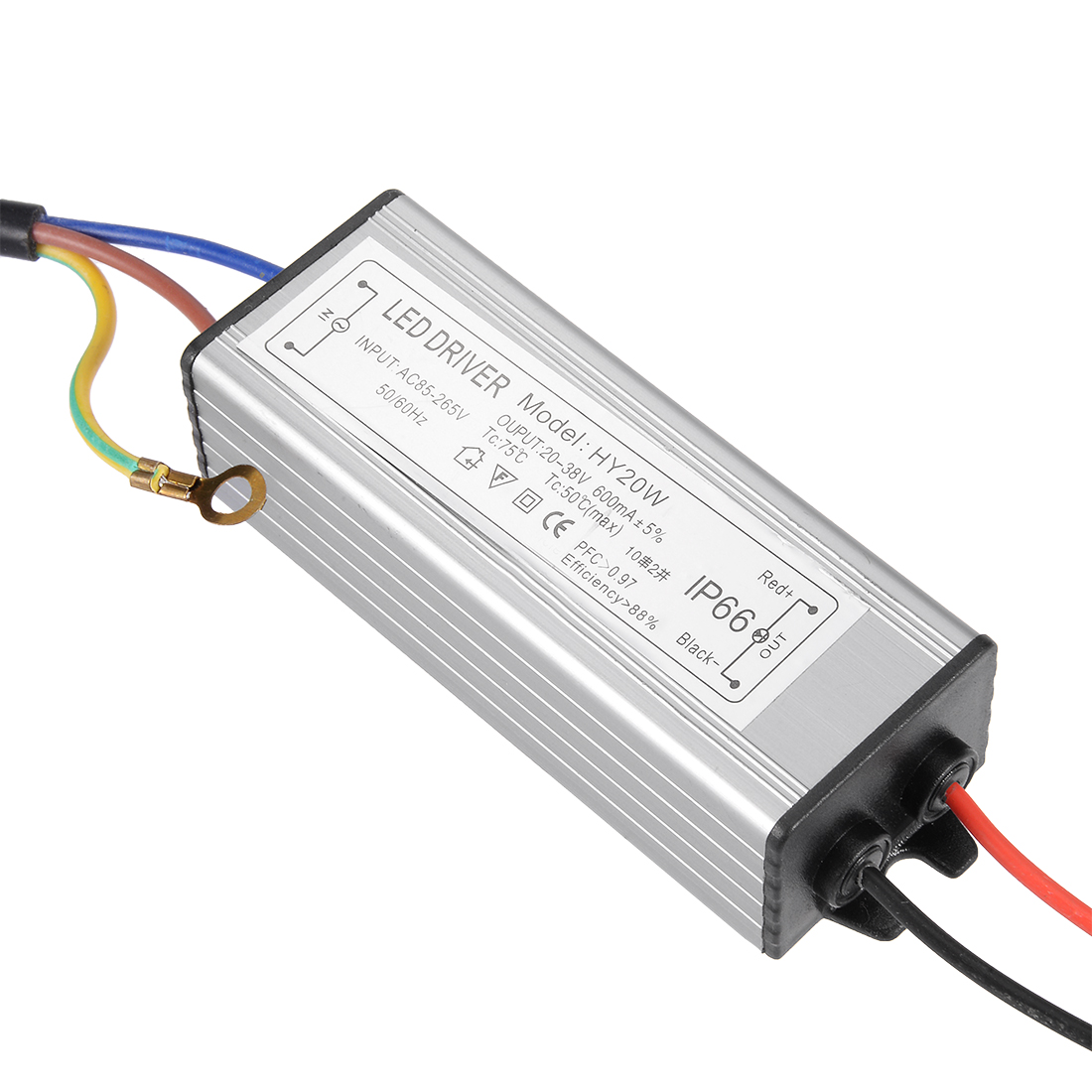 AC85-265V to DC 20-38V 20W Transformer IP66 Waterproof LED Driver Power Supply