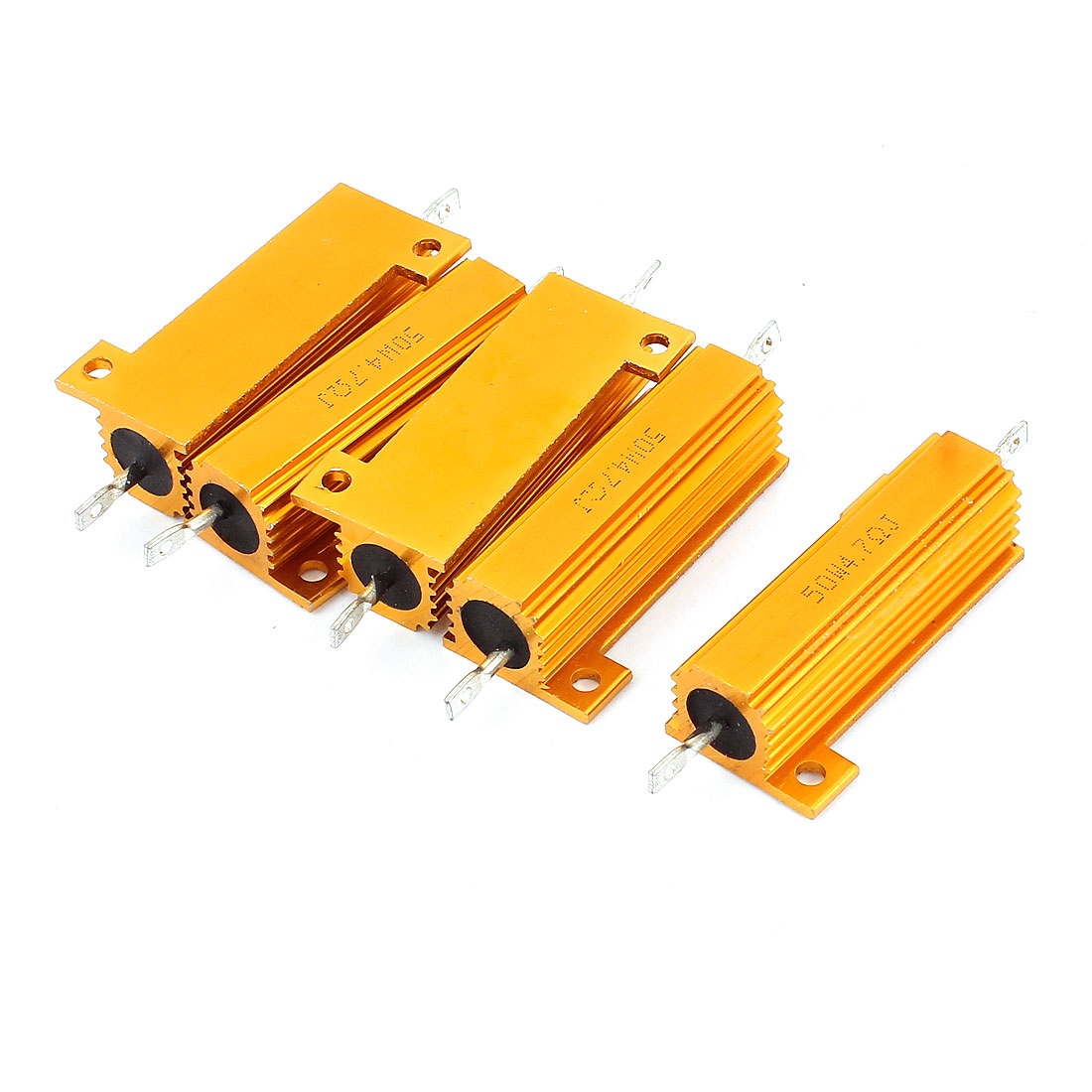 5 Pcs 4.7 Ohm 50W Aluminium Housing Chassis Mount Wirewound Power Resistors Gold Tone