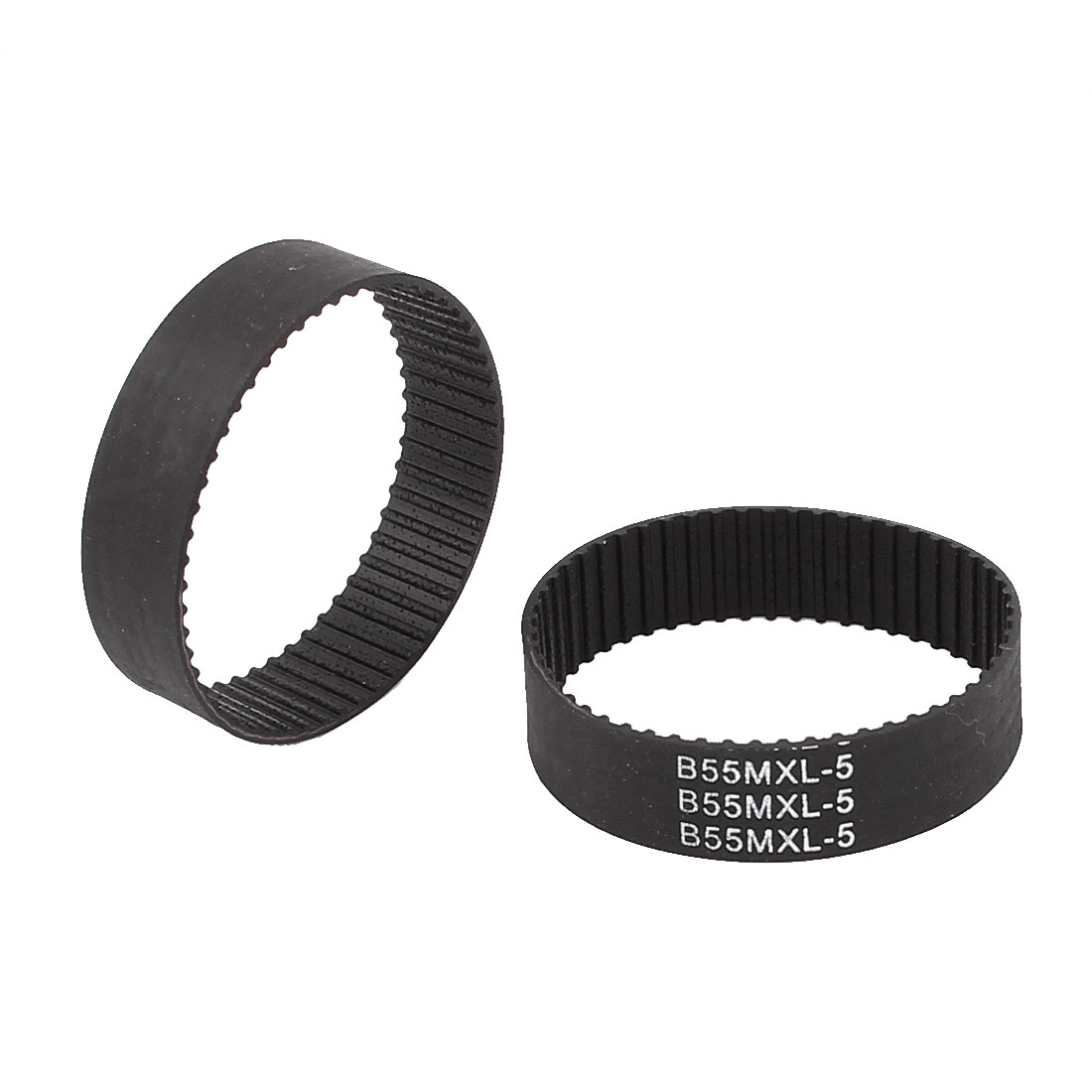 2Pcs 10mm Width 55 Teeth 1mm Pitch Rubber PU Synchronous Timing Belt Black