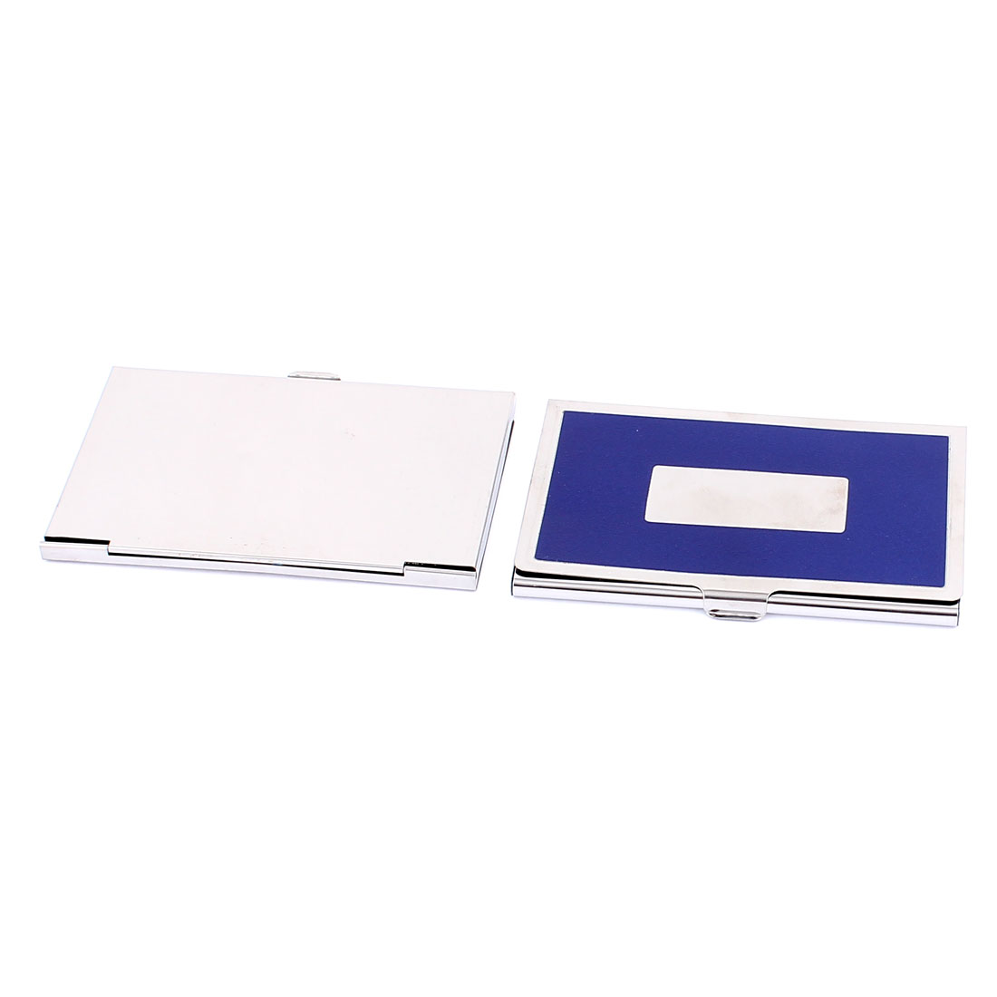Metal Office Business ID Credit Name Card Holder Case Blue Silver Tone