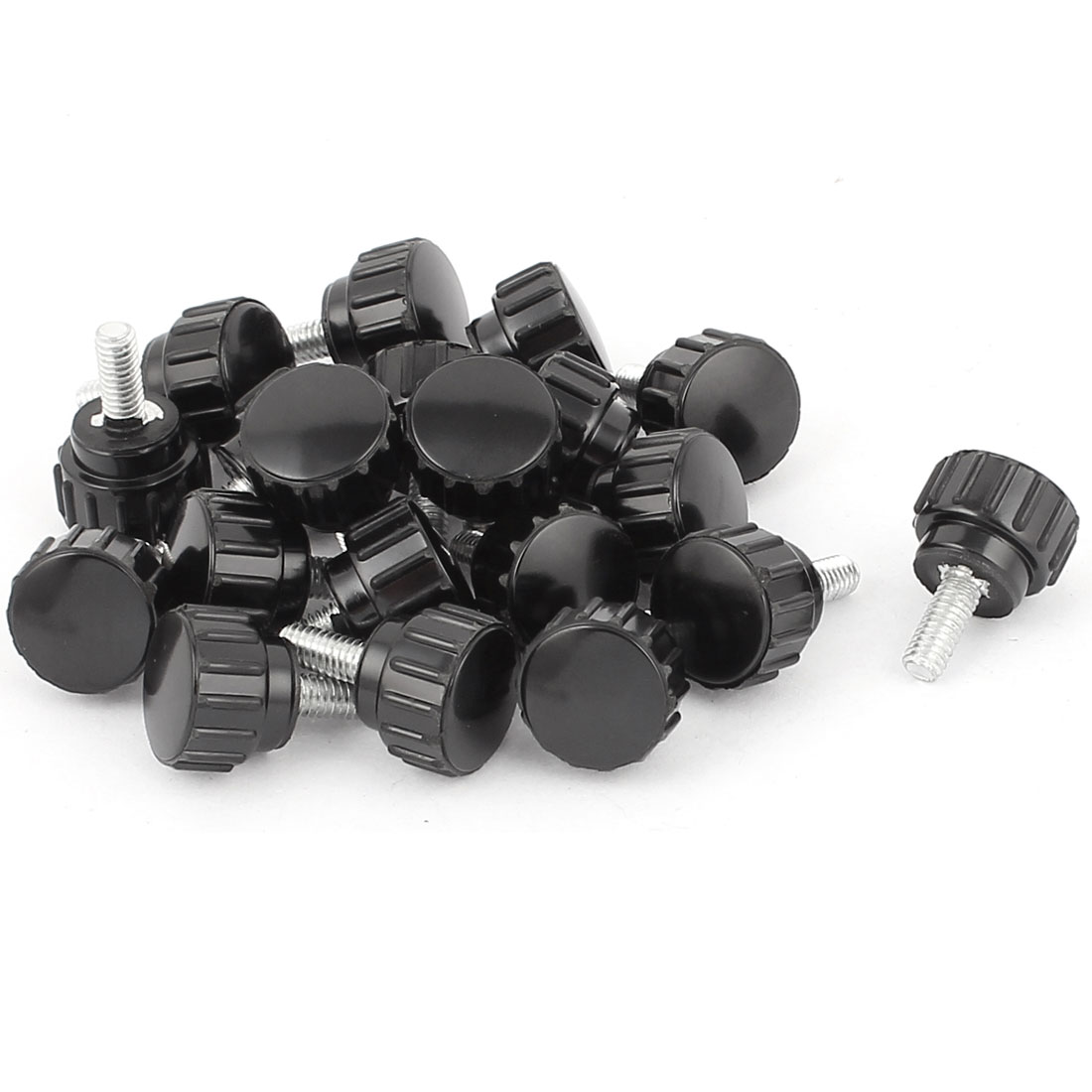 M4 x 10mm Male Thread Plastic Knurled Head Clamping Knob Jig Black 20pcs