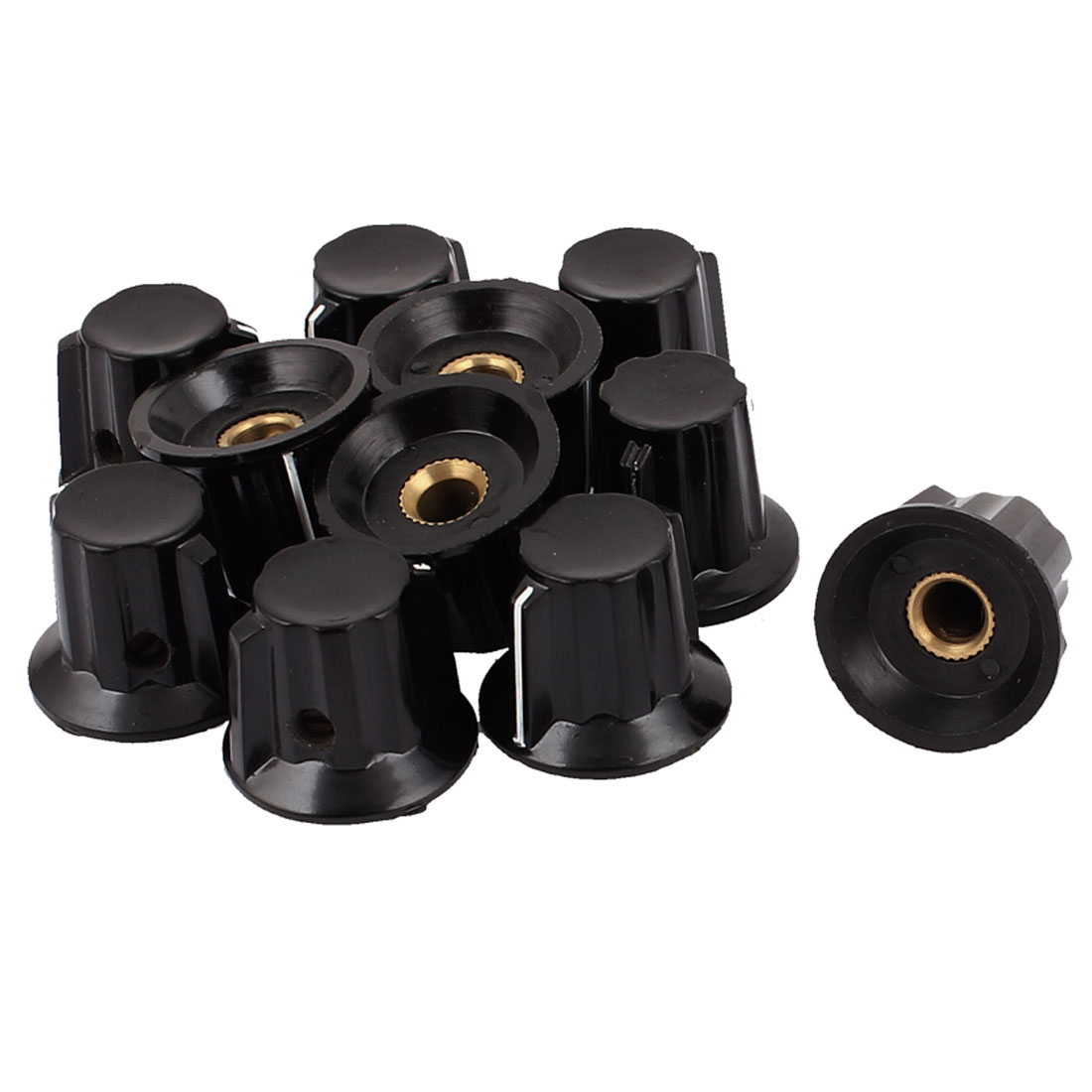 11 Pcs 25mm x 20mm Potentiometer Control Knob Mini Cap Knurled Button Black