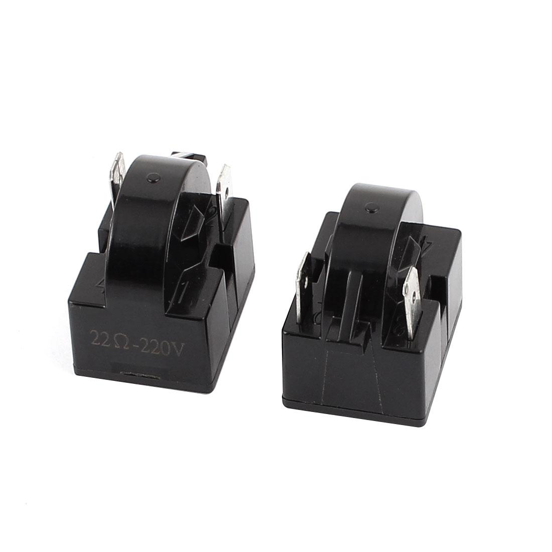 2Pcs 220V Plastic Shell 22 Ohm 2 Terminals Refrigerator PTC Starter Relay Black