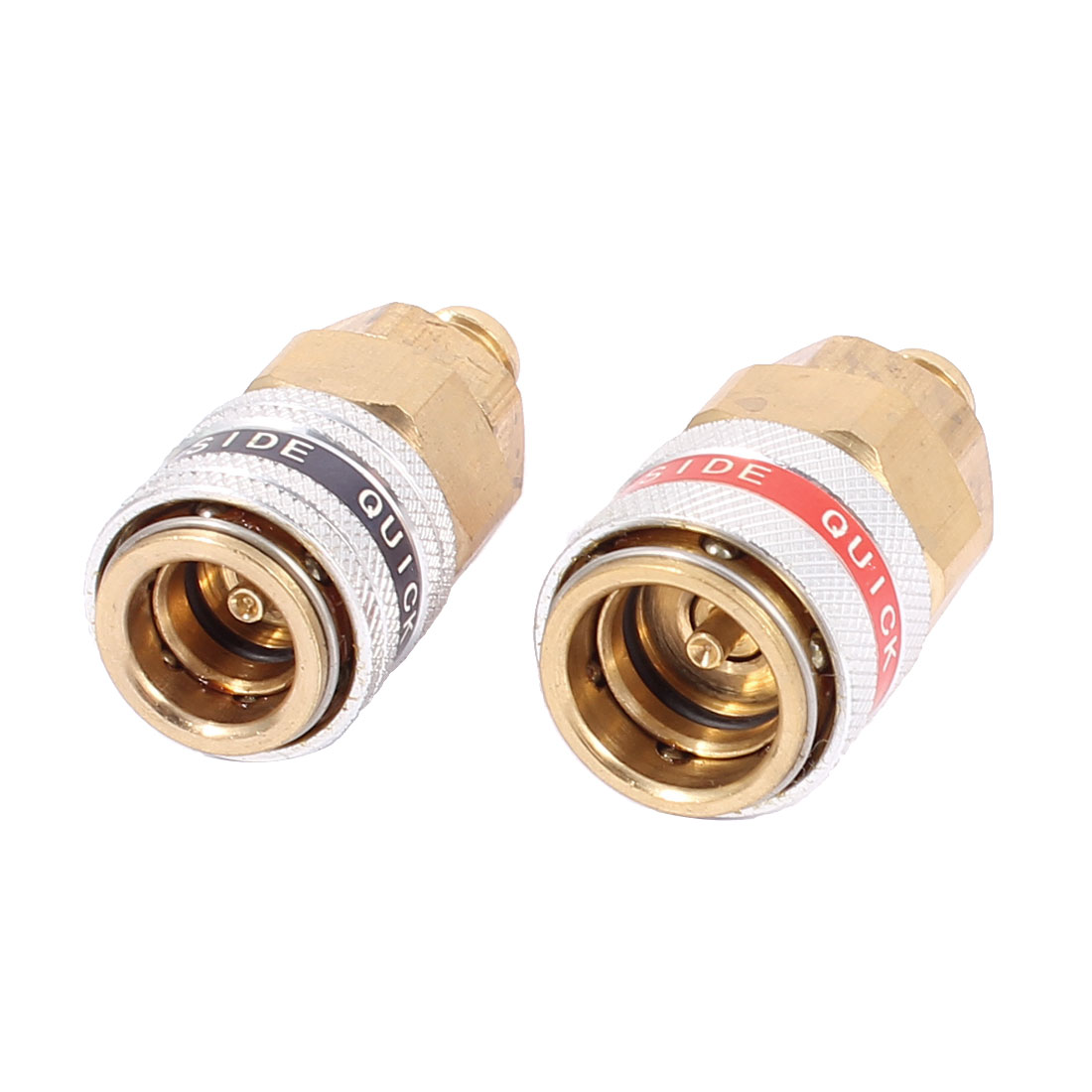 2PCS PT 1/8 Male Thread Cylinder Shape Air Conditioner Quick Coupler Green Red